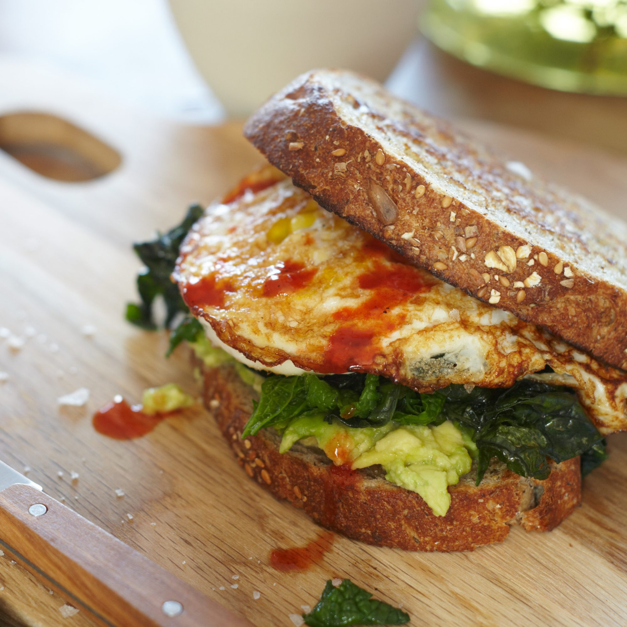 Egg Sandwich with Mustard Greens and Avocado
