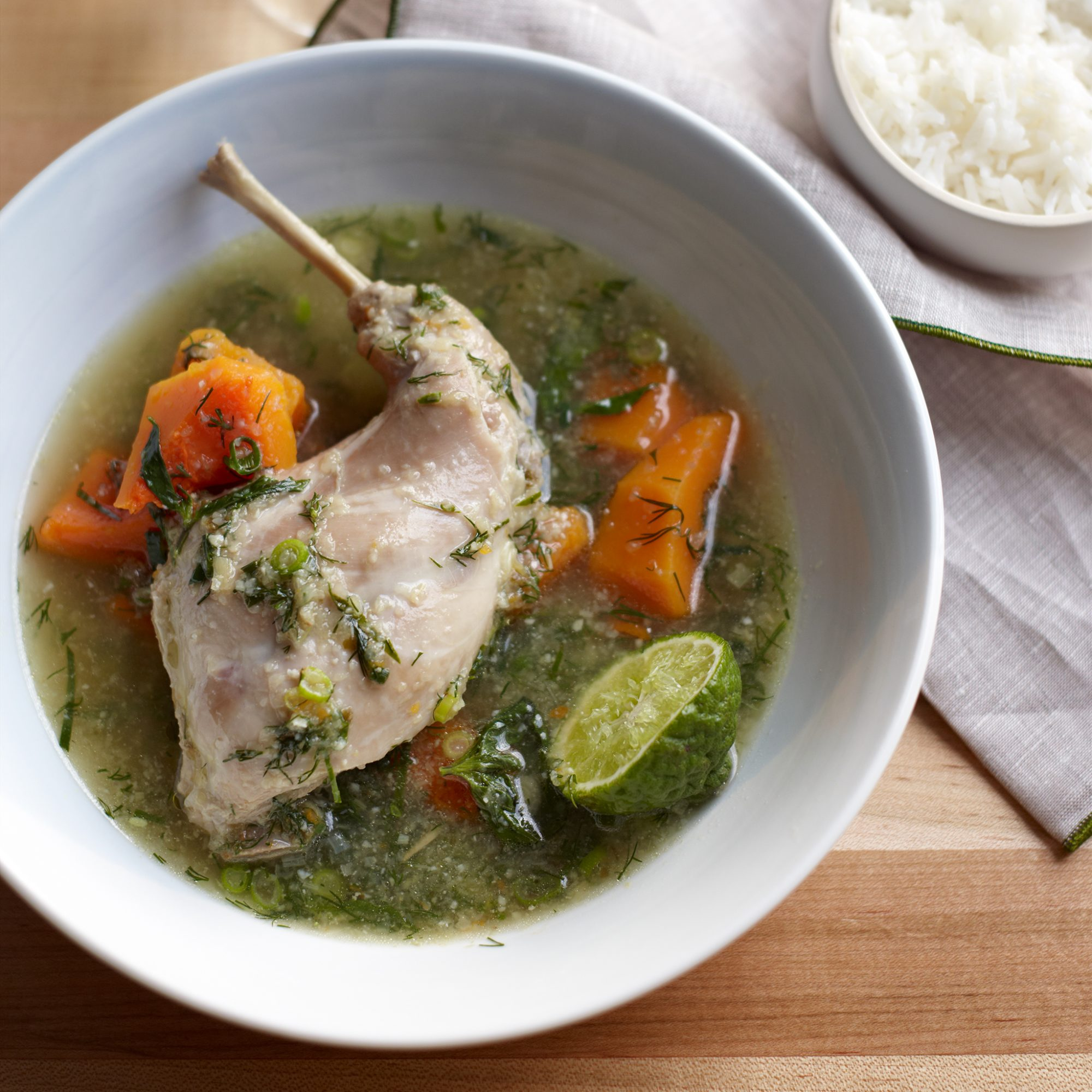 Green Curry of Rabbit, Butternut Squash and Dill