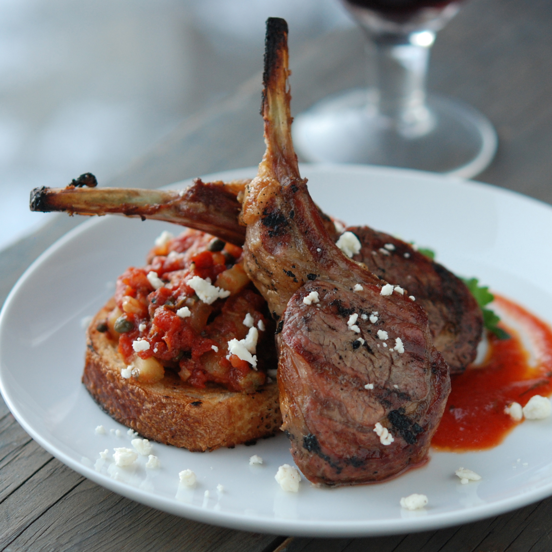 Grilled Lamb with Tomato Vinaigrette and Caponata