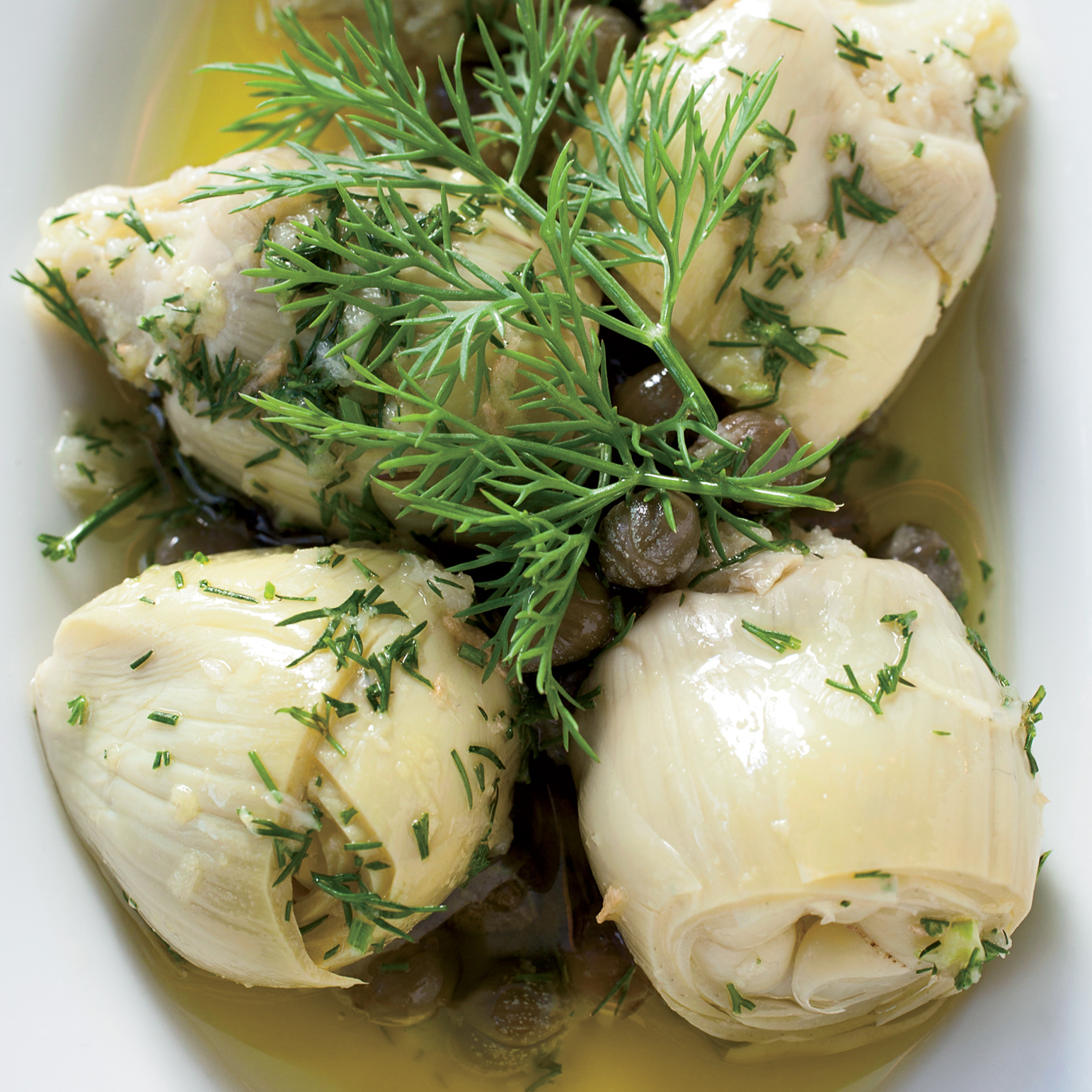 Marinated Baby Artichokes with Dill and Fresh Ginger