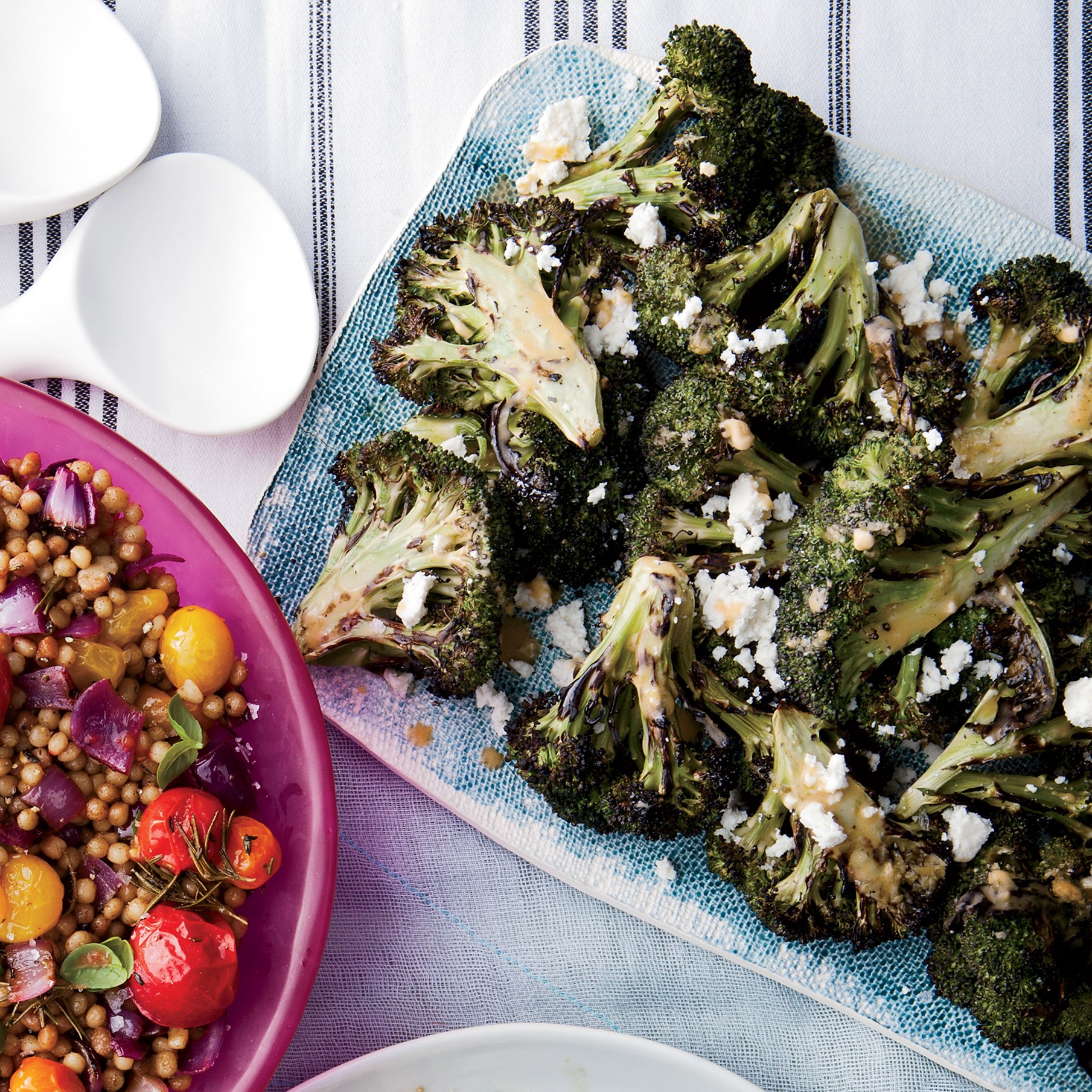 Grilled Broccoli with Chipotle-Lime Butter and Queso Fresco
