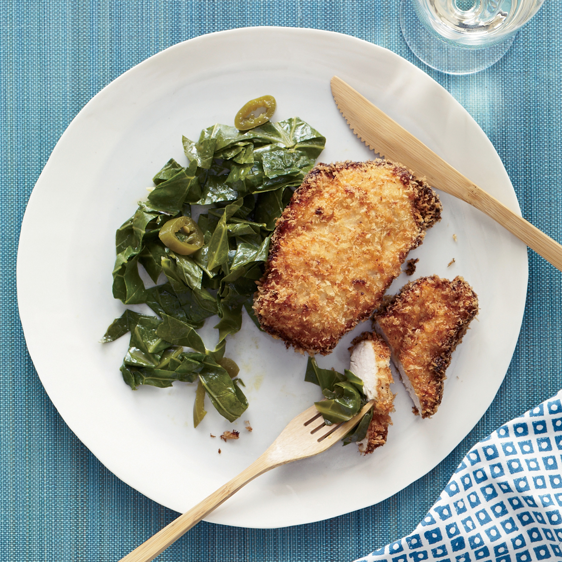 Coconut Chicken with Pickled Pepper Collards