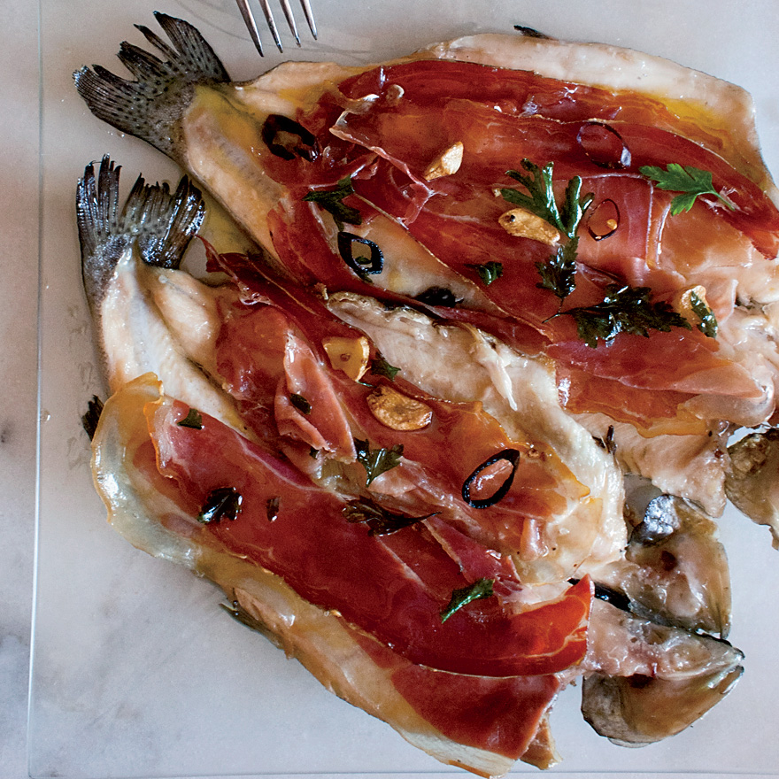 Pan-Seared Trout with Serrano Ham and Chile-Garlic Oil