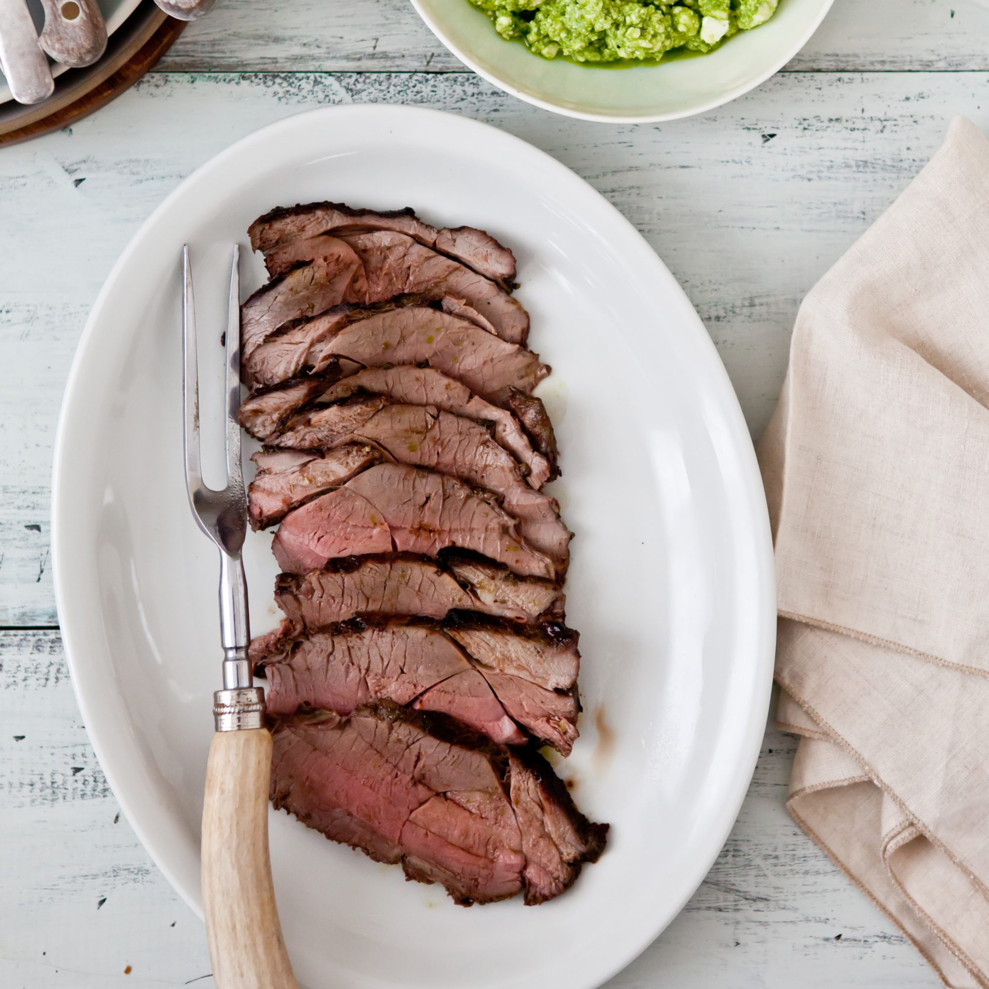 Grilled Leg of Lamb with Feta and Herb Salsa