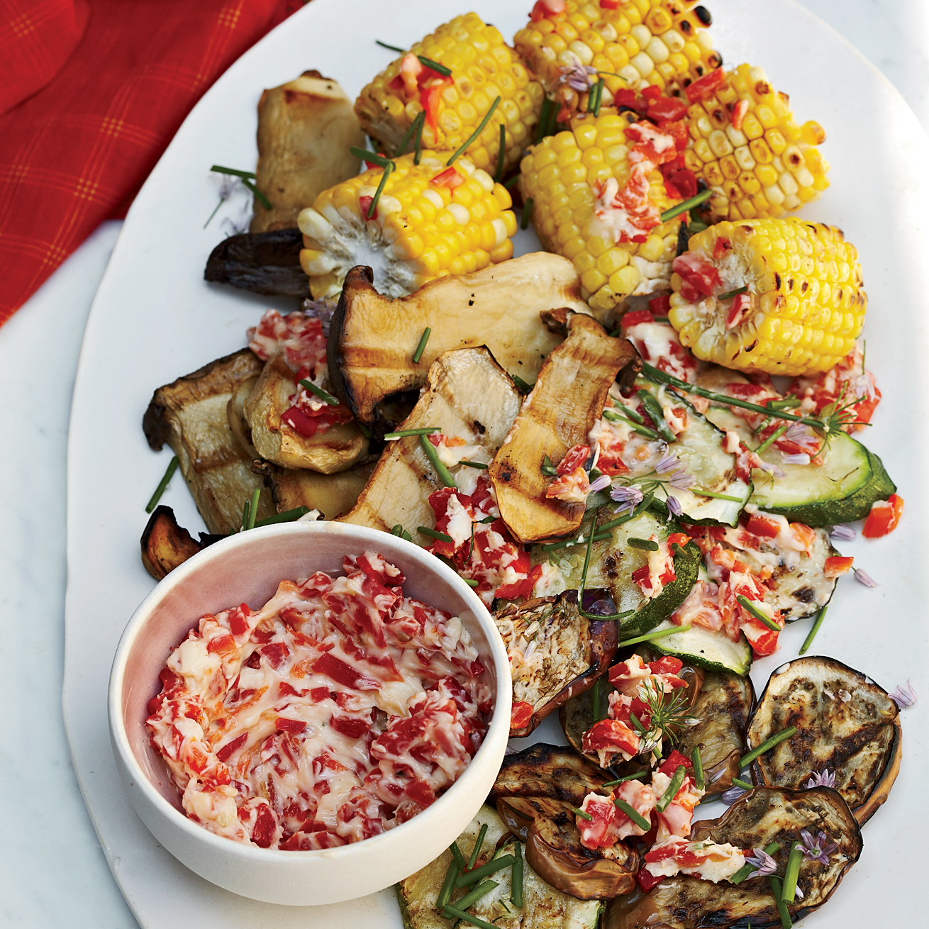 Grilled Vegetables with Roasted-Chile Butter
