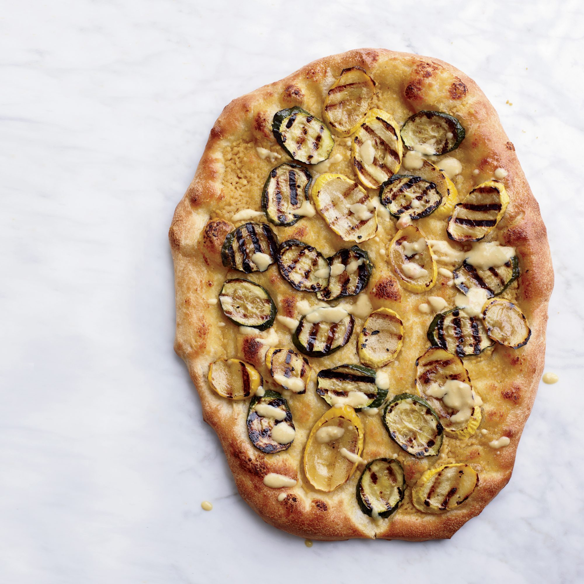Hummus and Grilled-Zucchini Pizzas