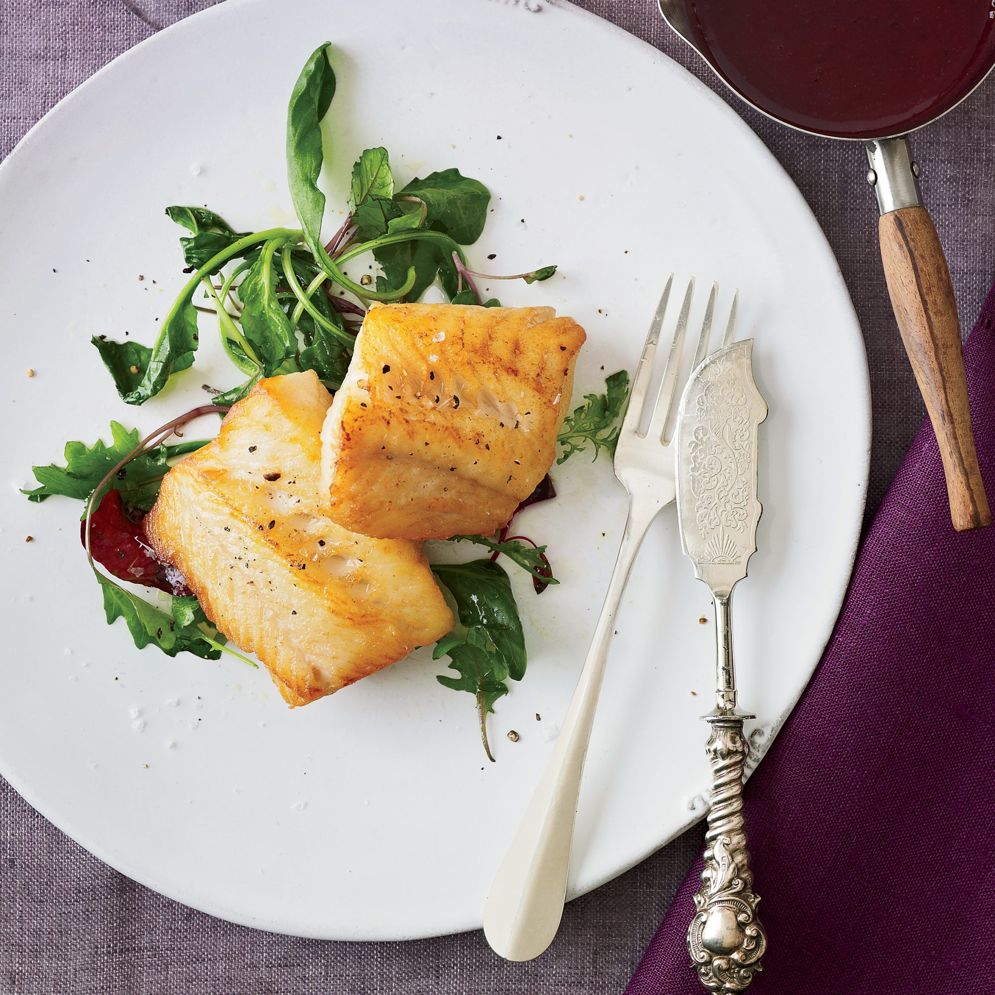 Grilled Black Cod with Red Wine-Miso Butter Sauce