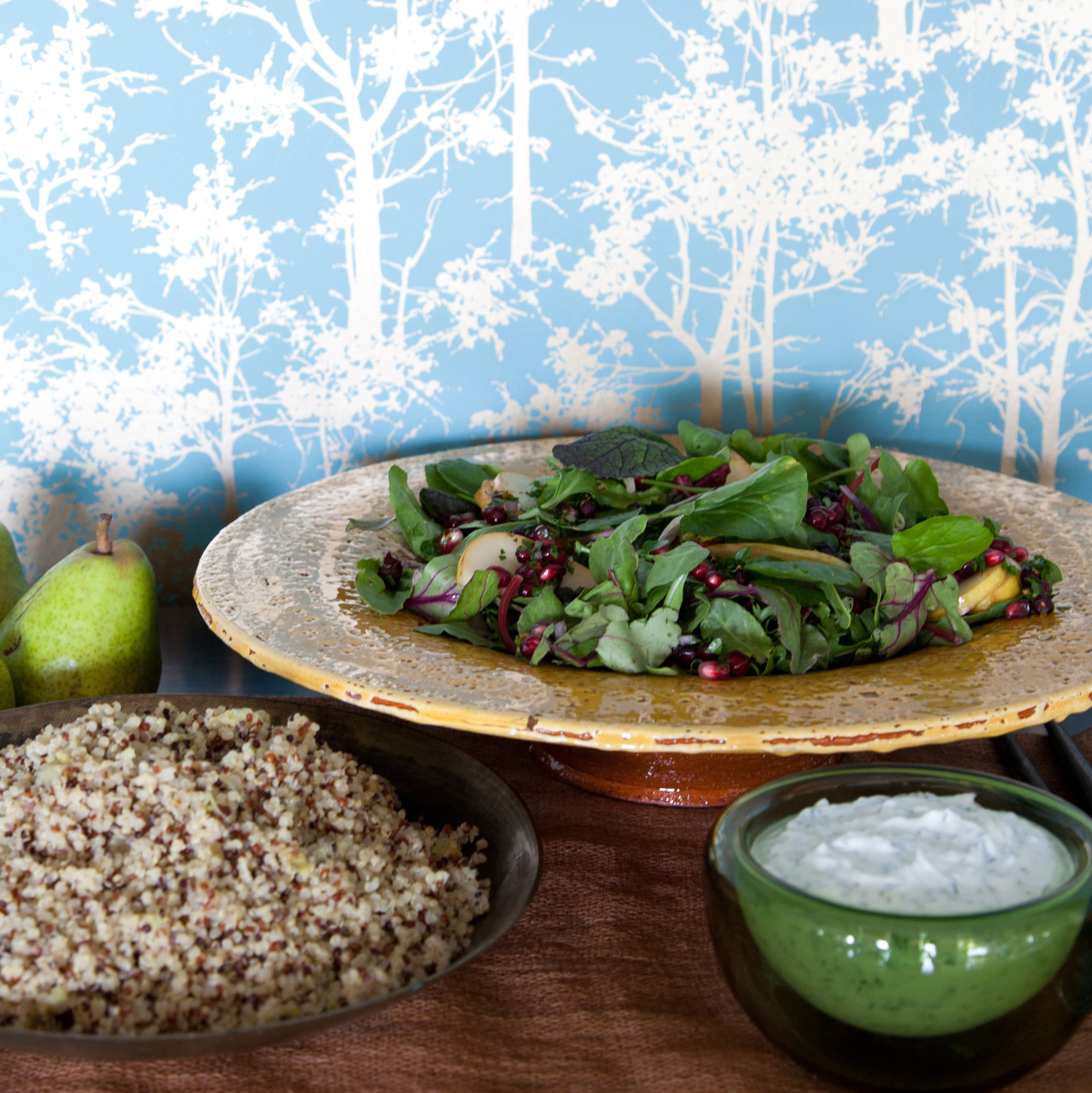 Spicy Greens and Pear Salad with Pomegranate Gremolata