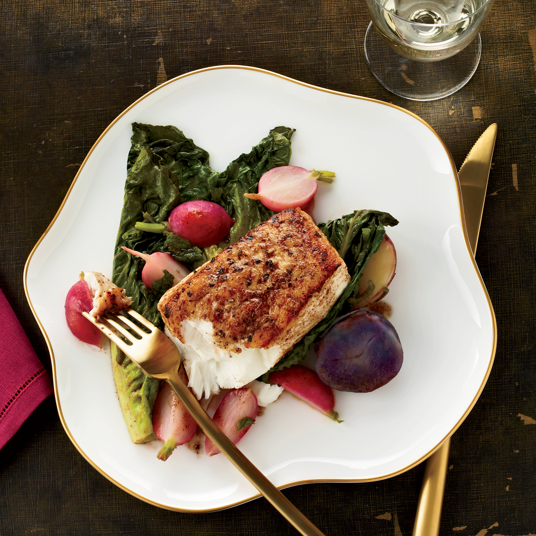 Halibut with Braised Romaine and Cumin Brown Butter