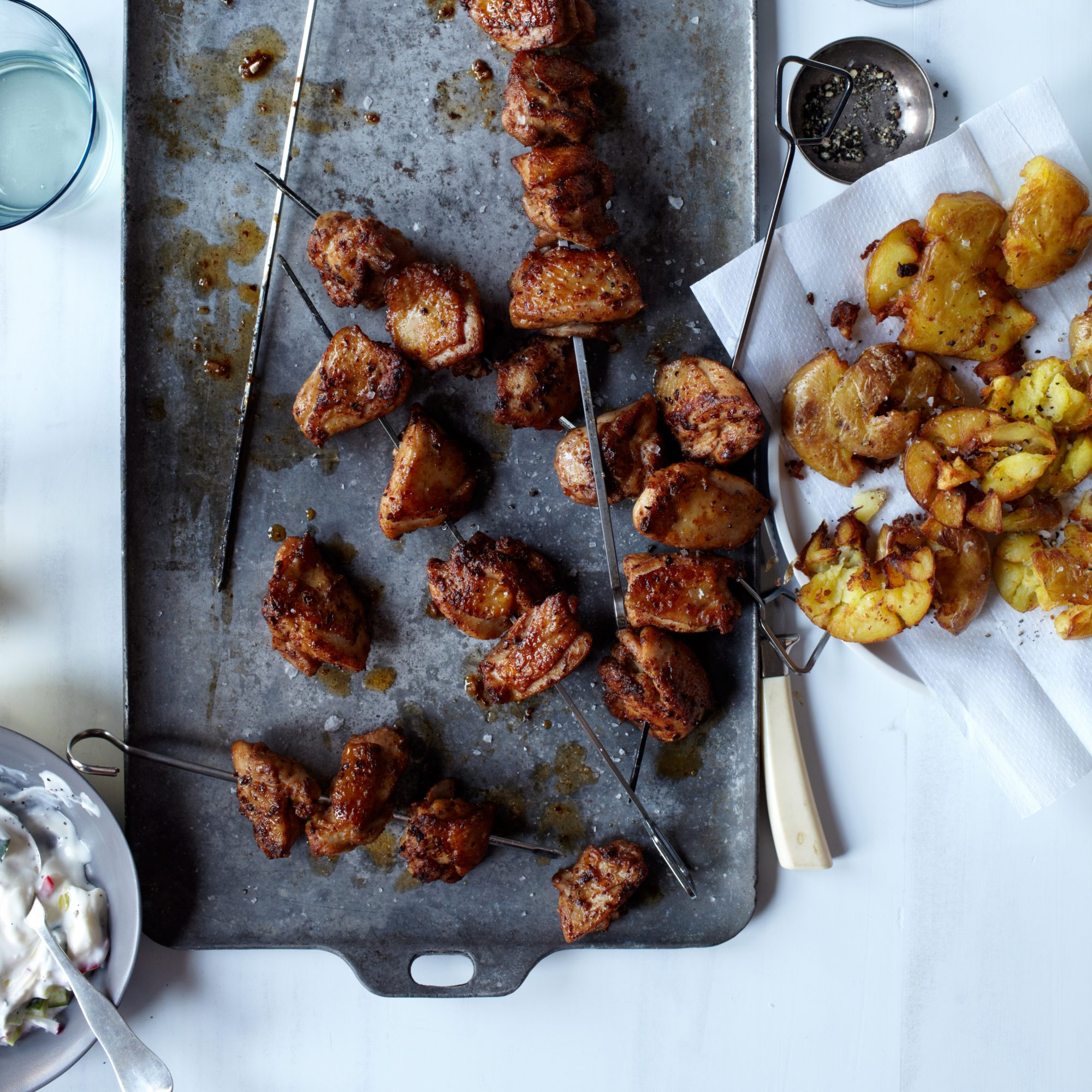 Chicken Kebabs with Fried Smashed Potatoes & Tzatziki