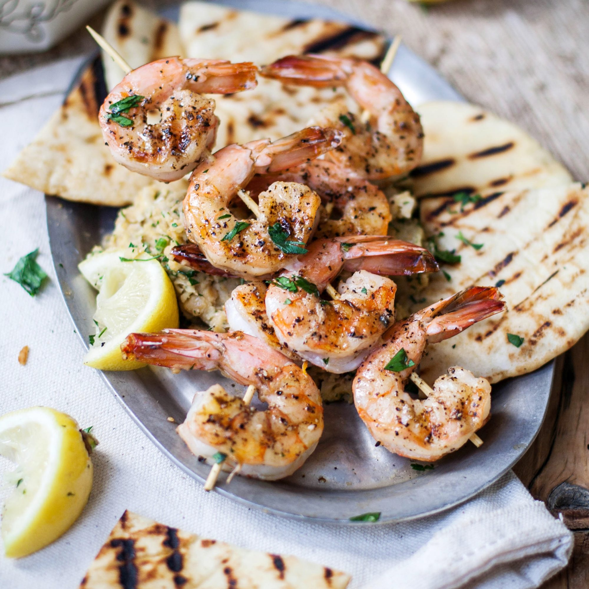 Grilled Shrimp and Pitas with Chickpea Puree