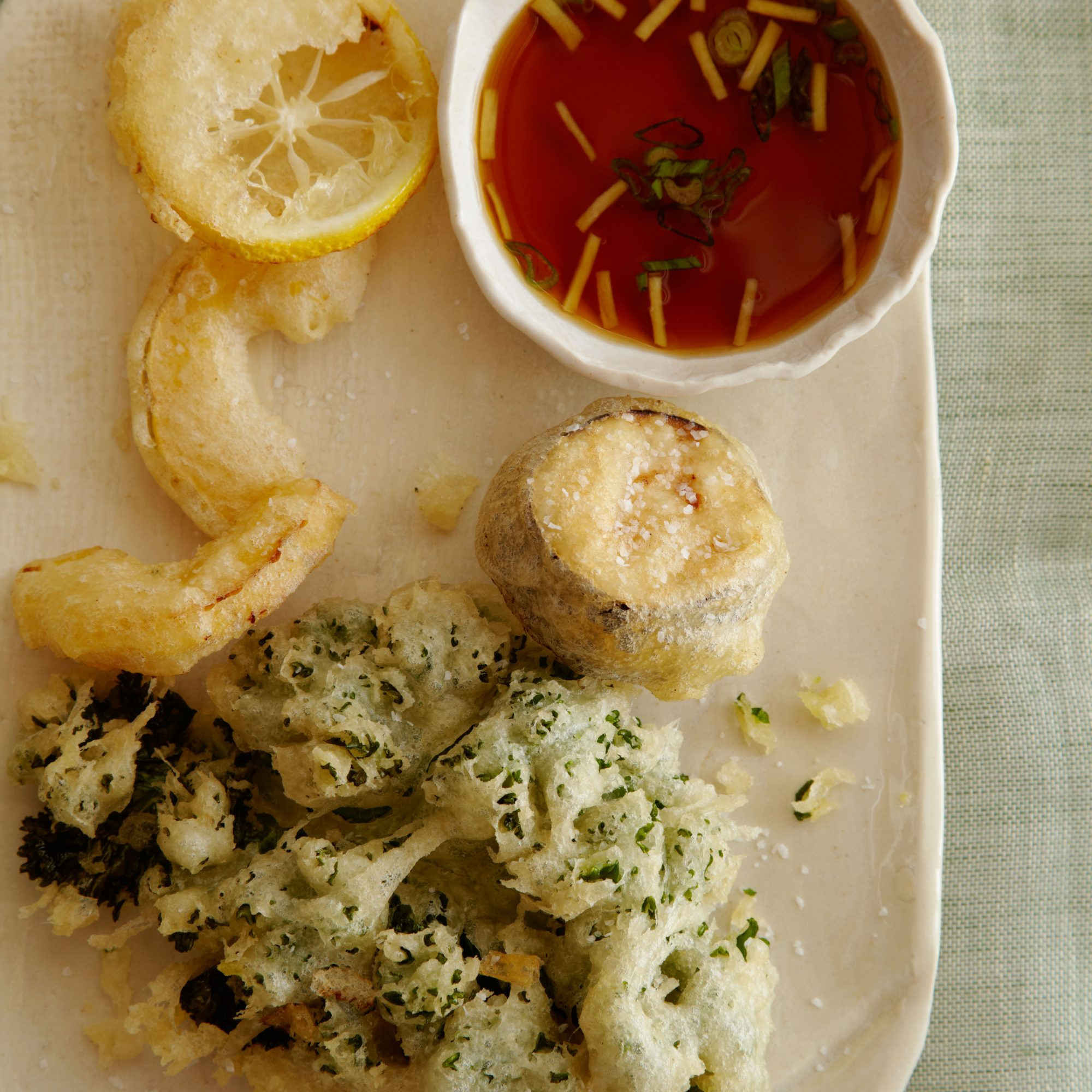 Airy Tempura with Ginger-Ponzu Dipping Sauce
