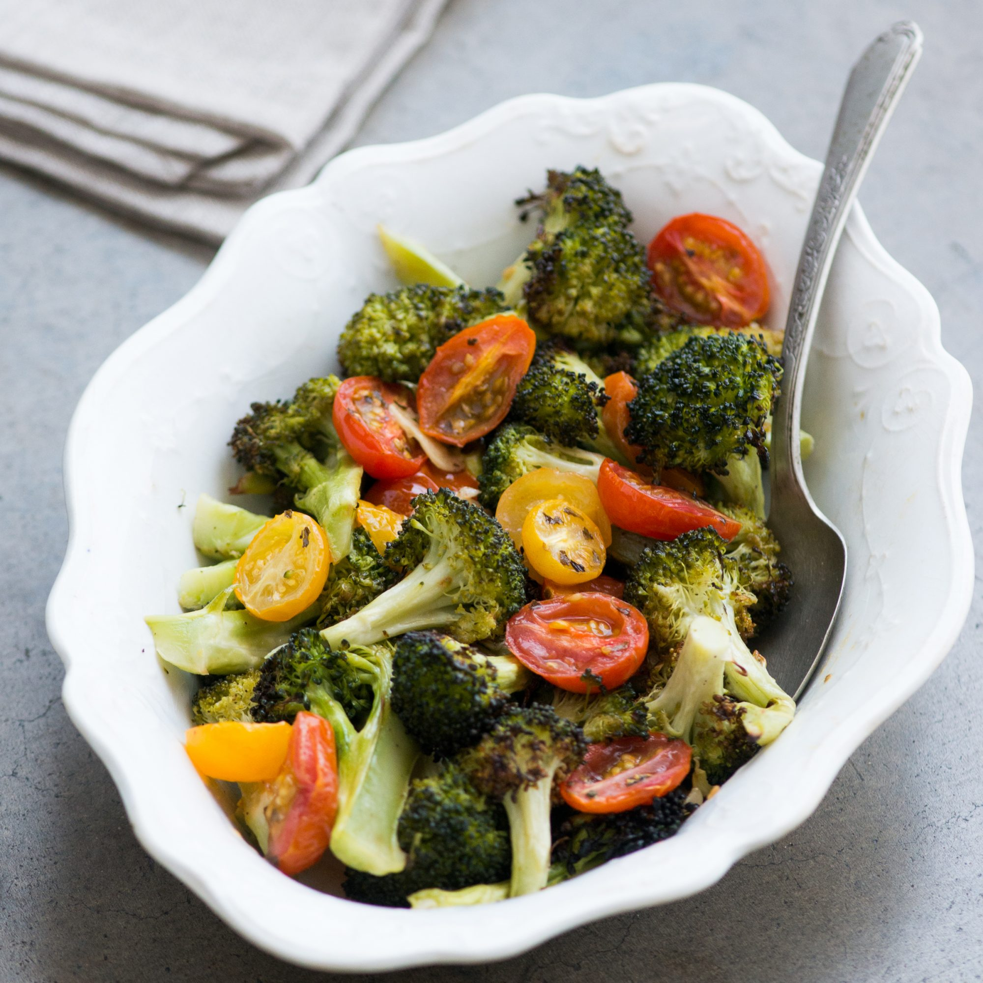 Roasted Broccoli and Cherry Tomatoes with Garlic