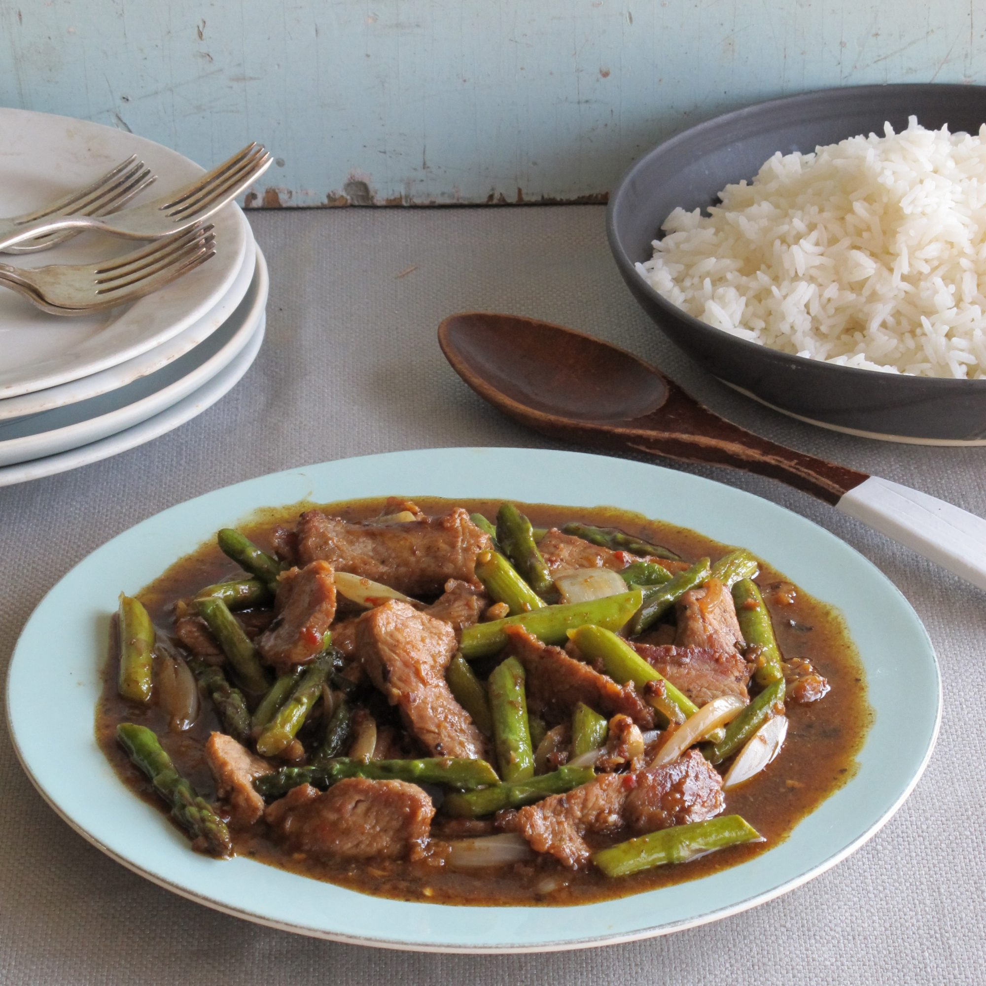 Hunan Beef with Asparagus and Mixed Chiles