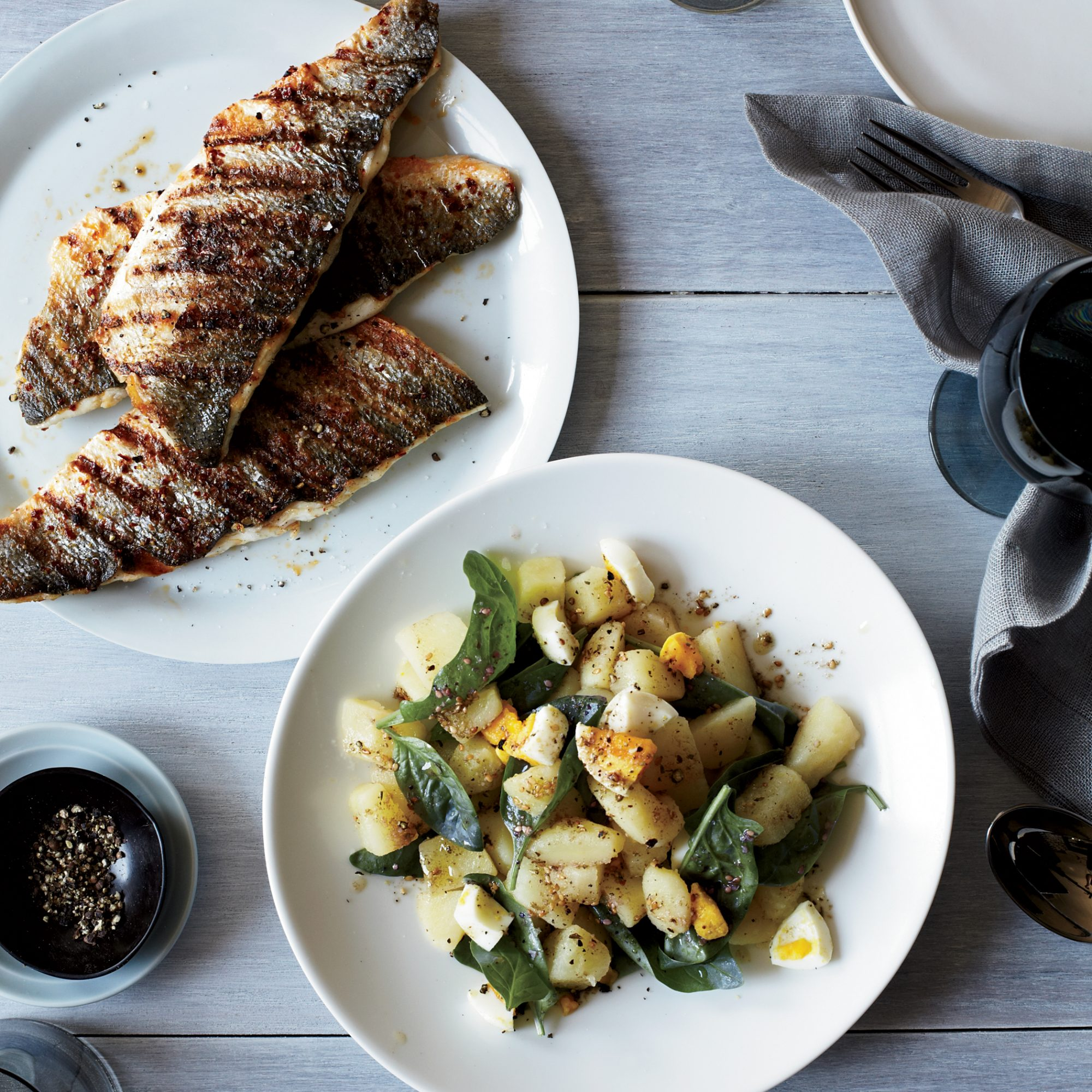 Grilled Branzino Fillets with Potato & Spinach Salad