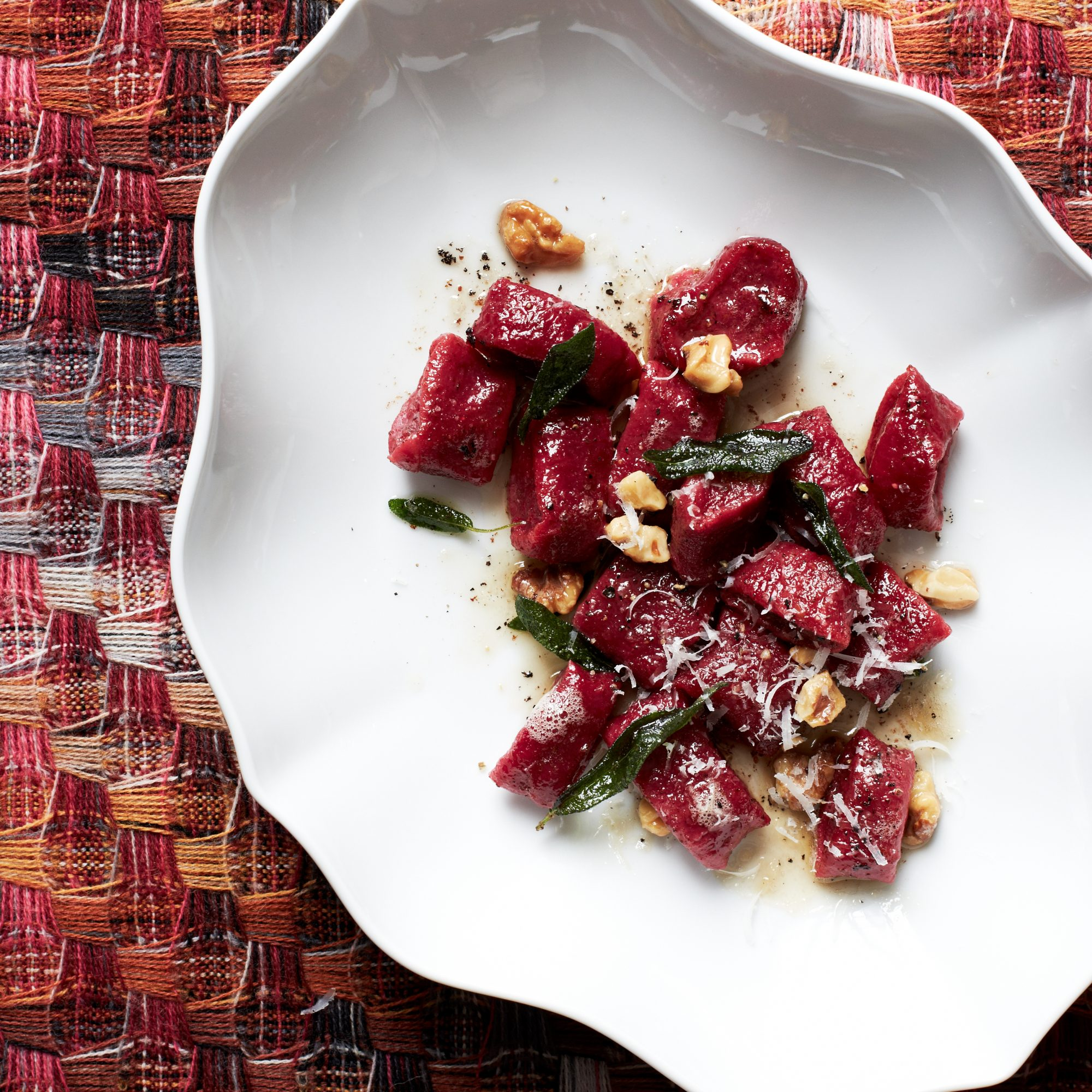 Beet Gnocchi with Walnut-Sage Butter