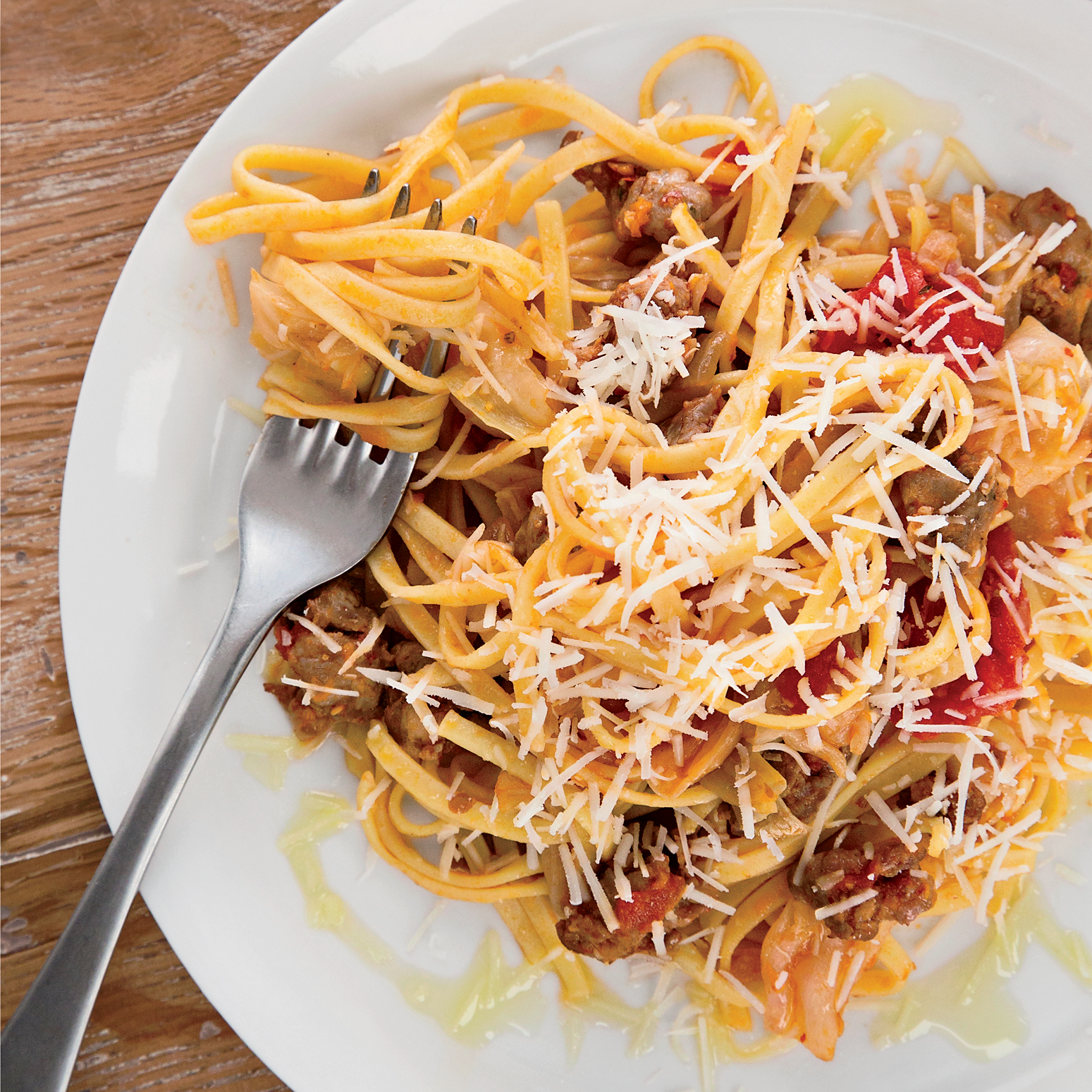 Fettuccine with Spicy Sausage and Cabbage Ribbons