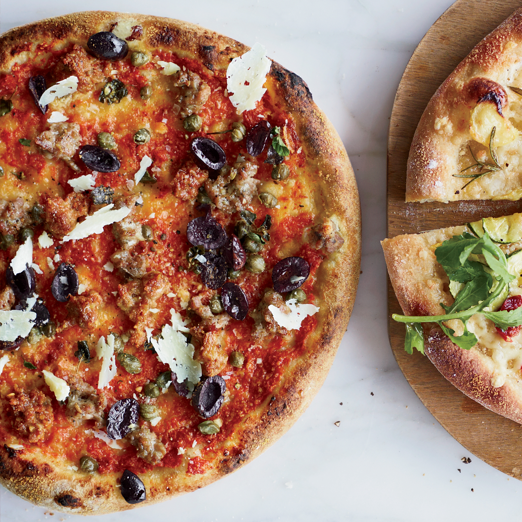 Sausage-and-Olive Pizza with Capers and Pecorino Sardo