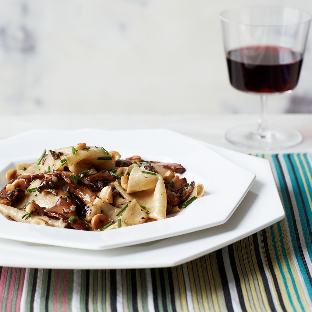 Toasted Fazzoletti with Chanterelles and Hazelnuts