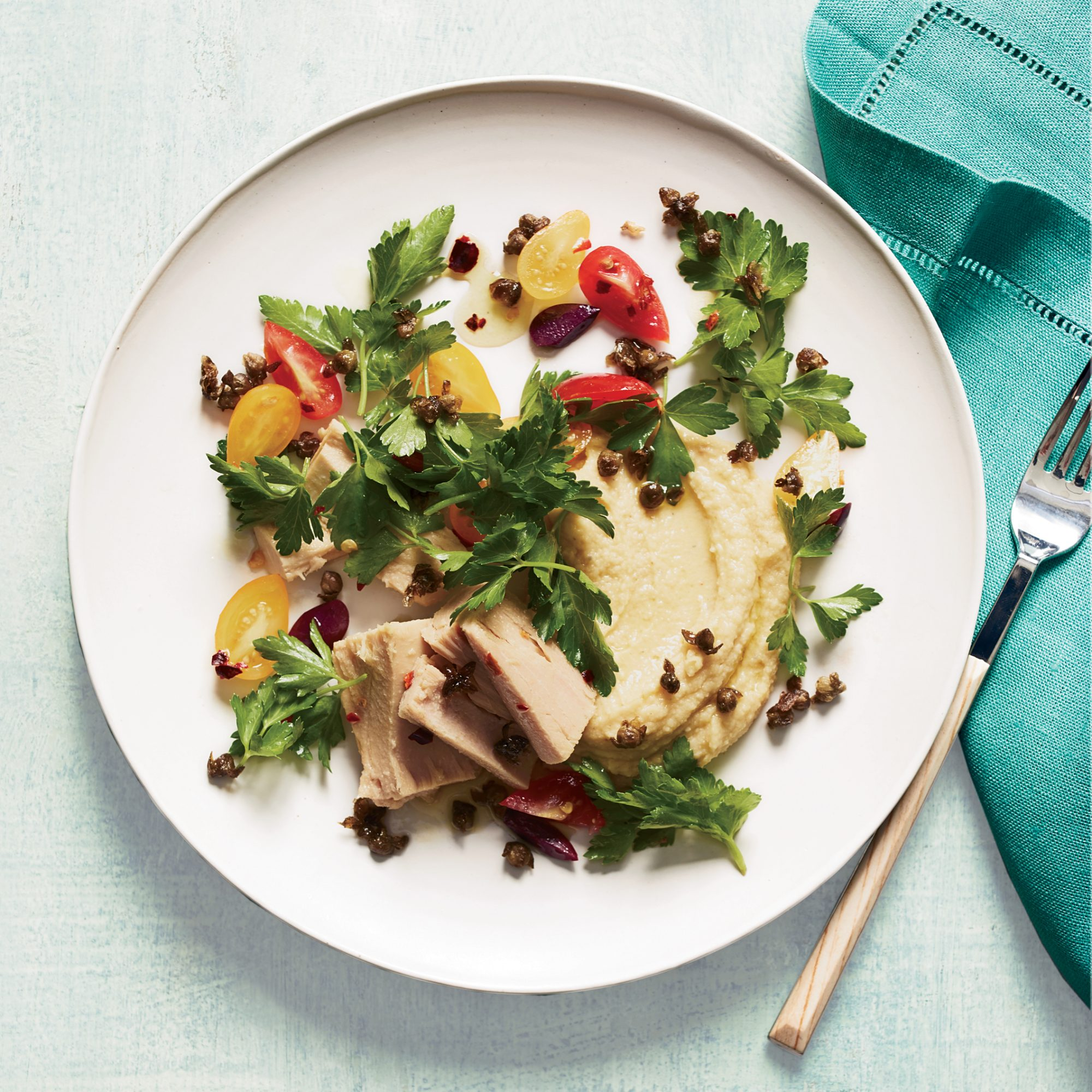 Tuna Salad with Chickpea Puree