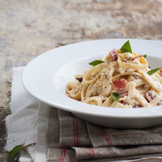 Fettuccine with Goat-Cheese and Salami Sauce