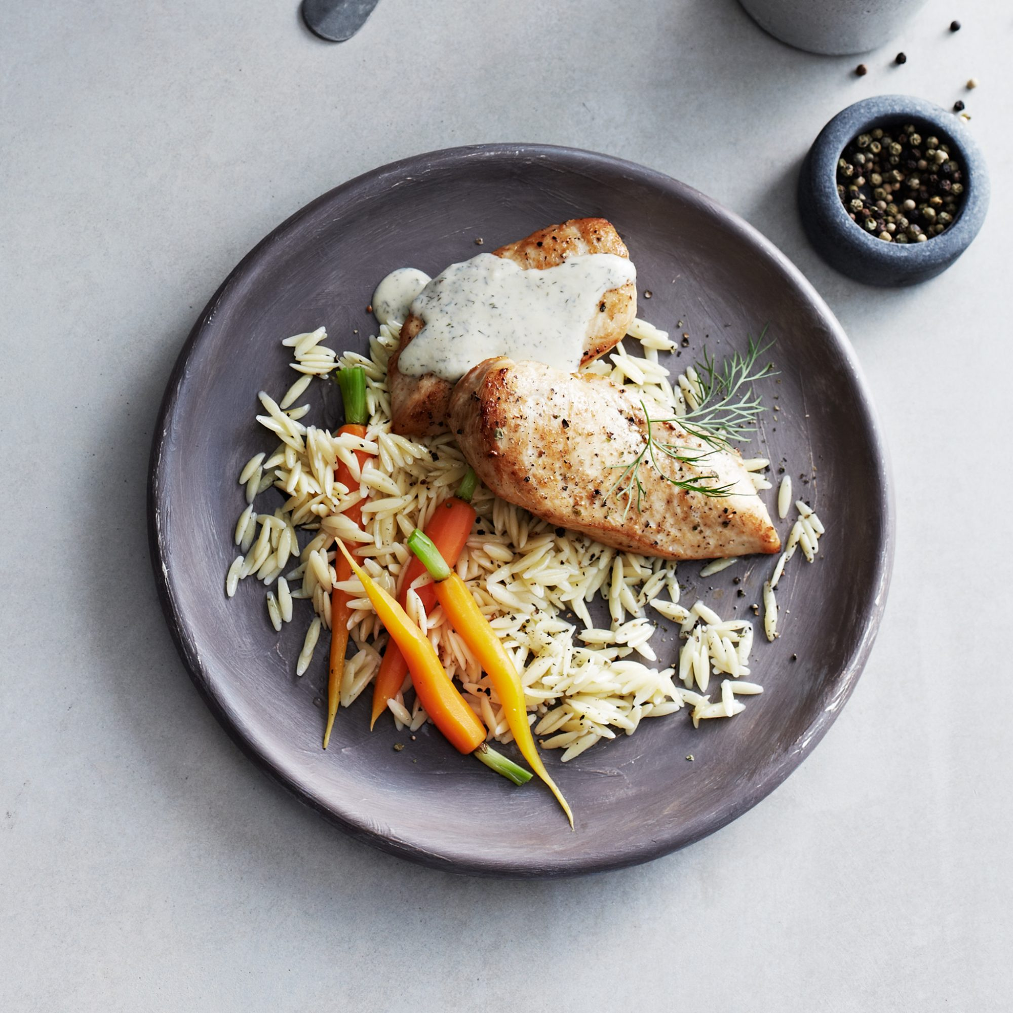 Chicken Breasts with Orzo, Carrots, Dill, and Avgolemono Sauce