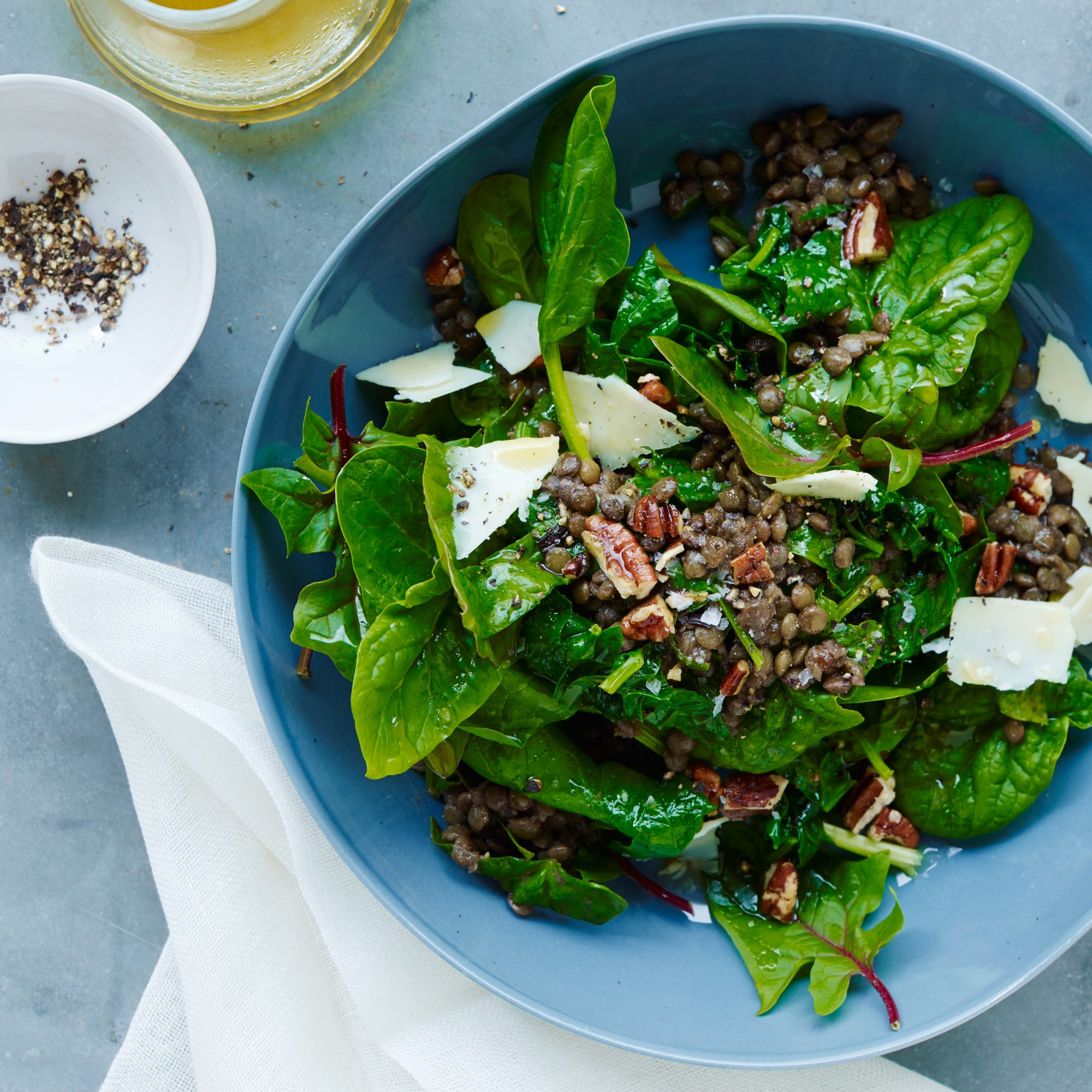 Lentil Salad with Spinach, Pecans, and Cheddar