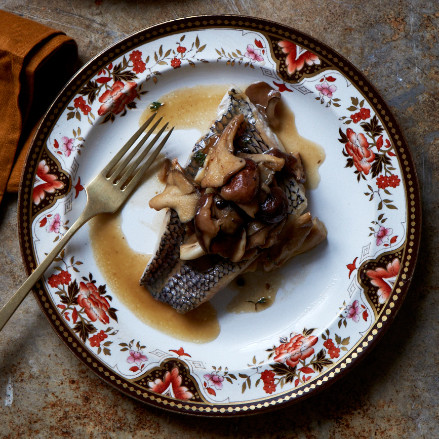Oven-Steamed Sea Bass with Wild Mushrooms