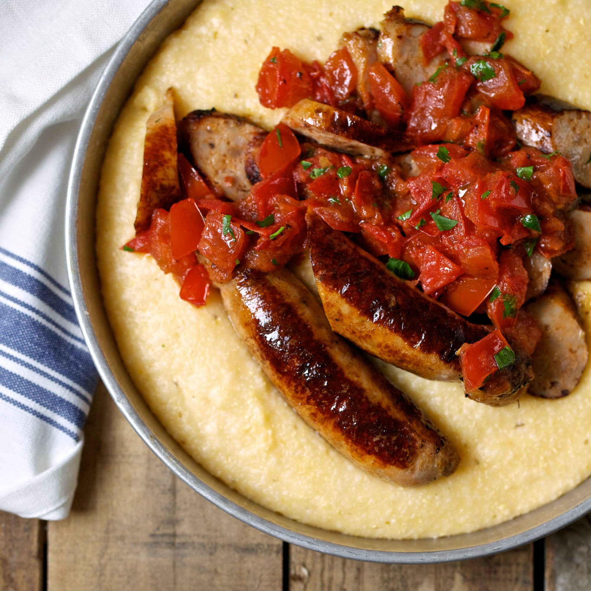 Turkey Sausage with Cheddar-Cheese Grits and Tomato Sauce