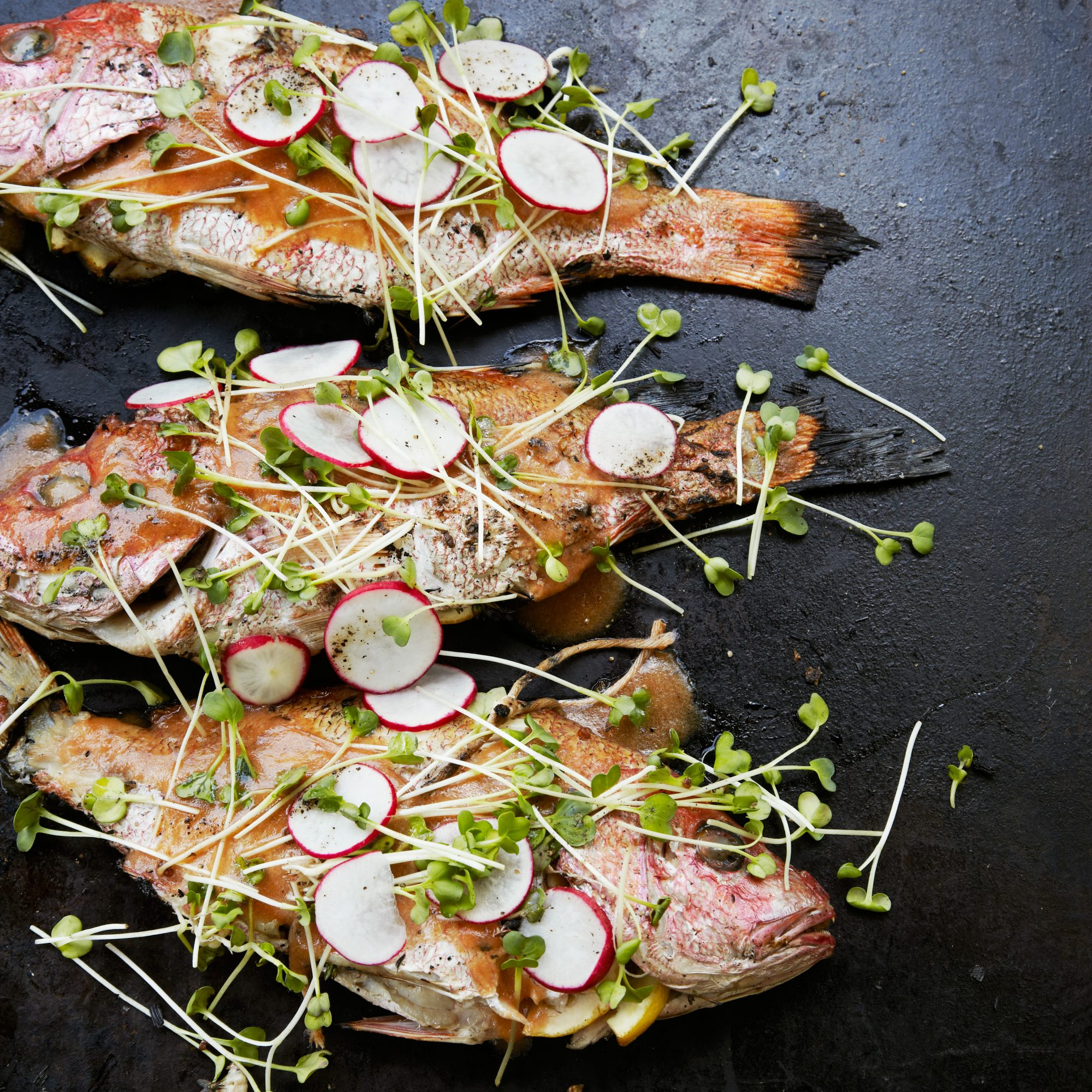Asian-Style Grilled Whole Red Snapper with Radish Salad