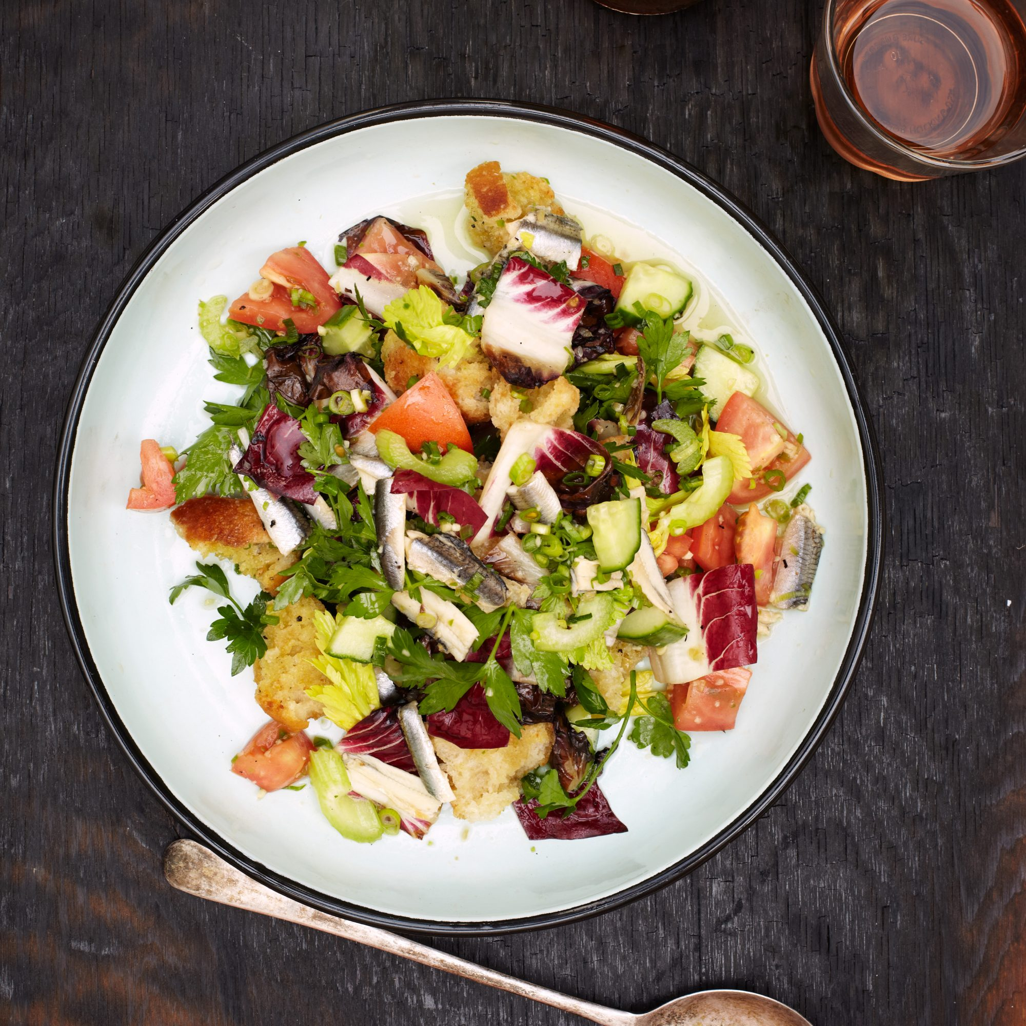White Anchovy and Grilled Radicchio Bread Salad