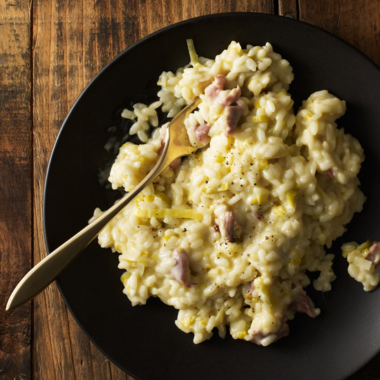 Risotto with Smoked Turkey, Leeks, and Mascarpone