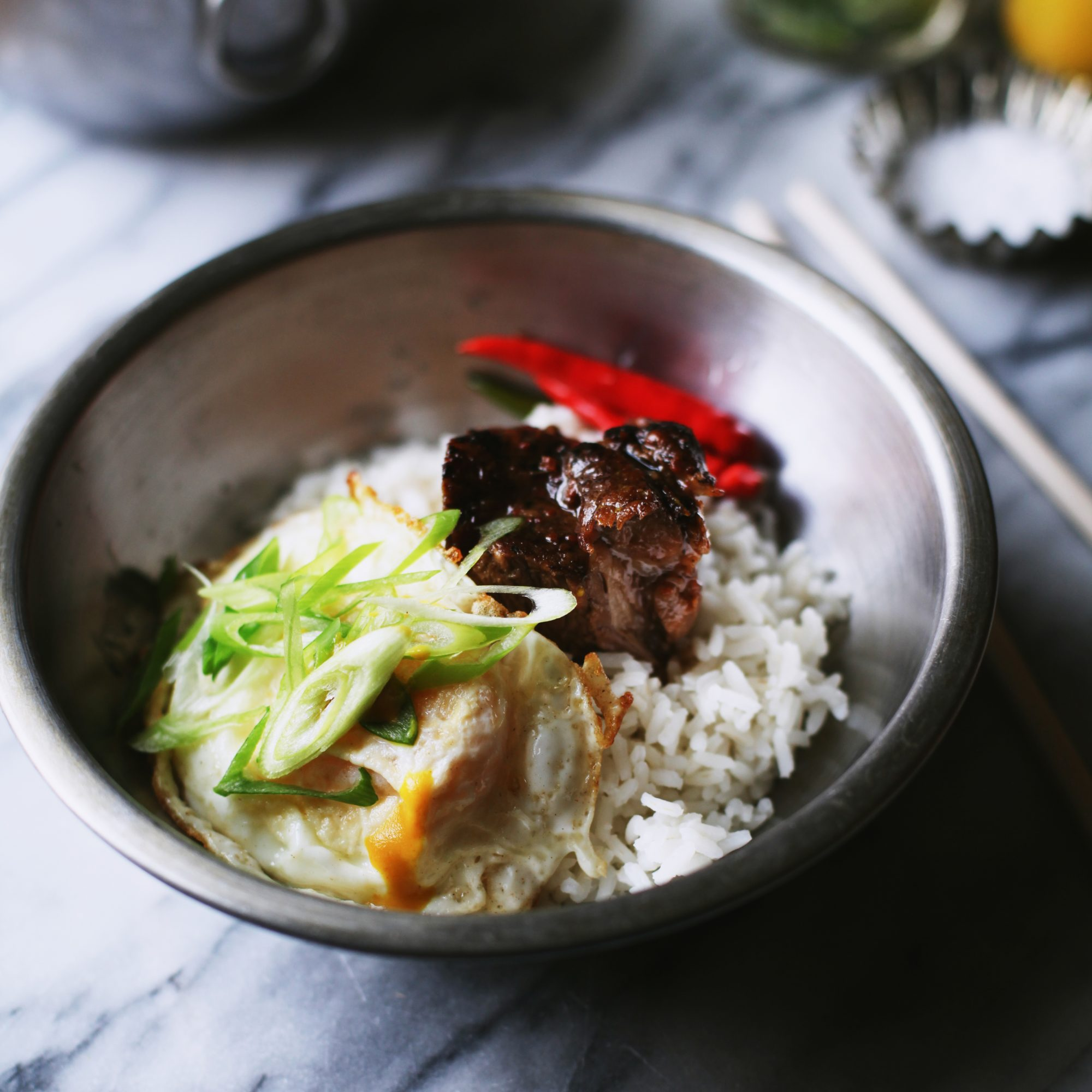 Braised Pork with Ginger-Pickled Shishito Peppers