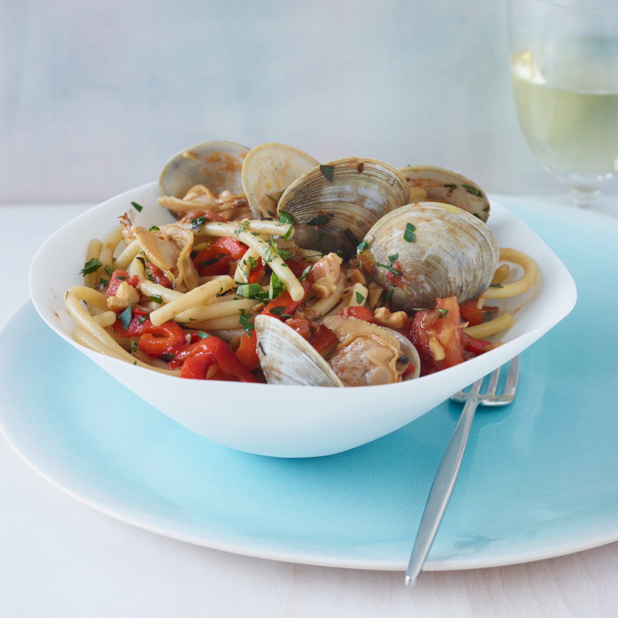 Bucatini with Clams and Red Peppers