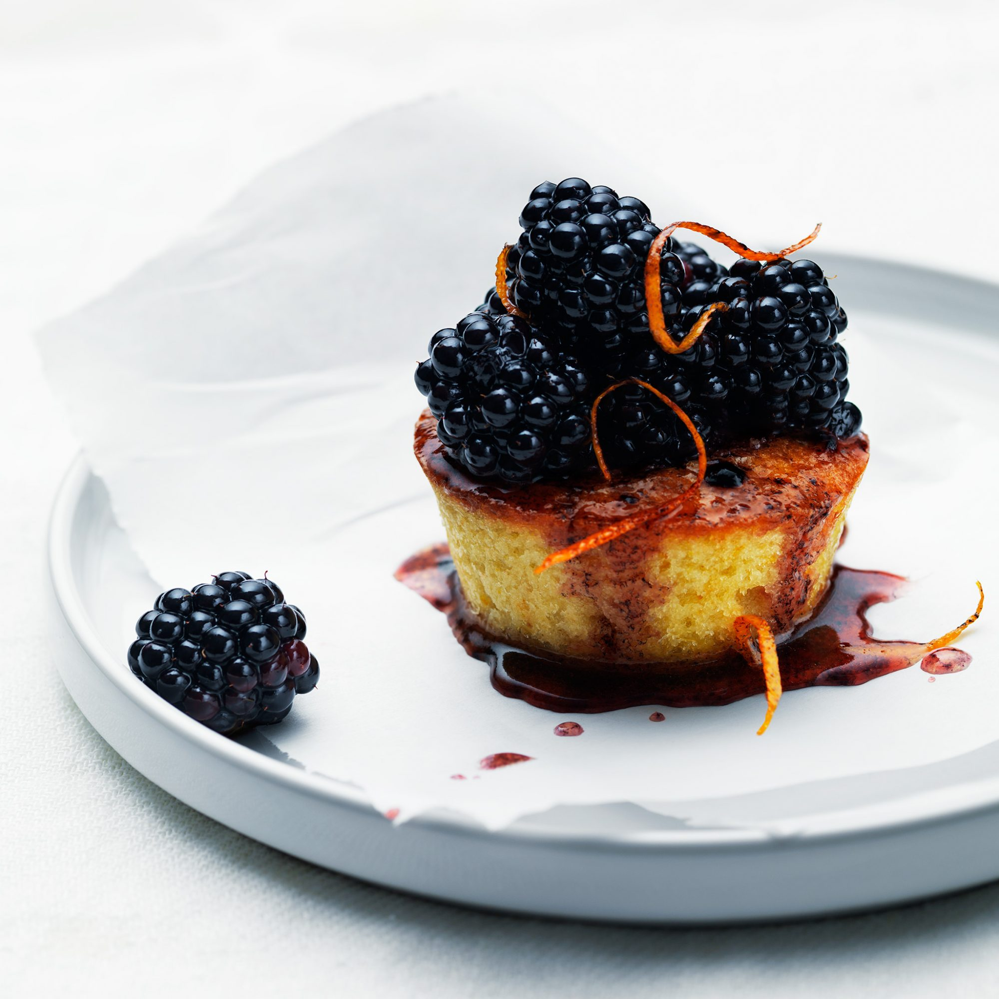 Olive Oil Cake with Blackberries