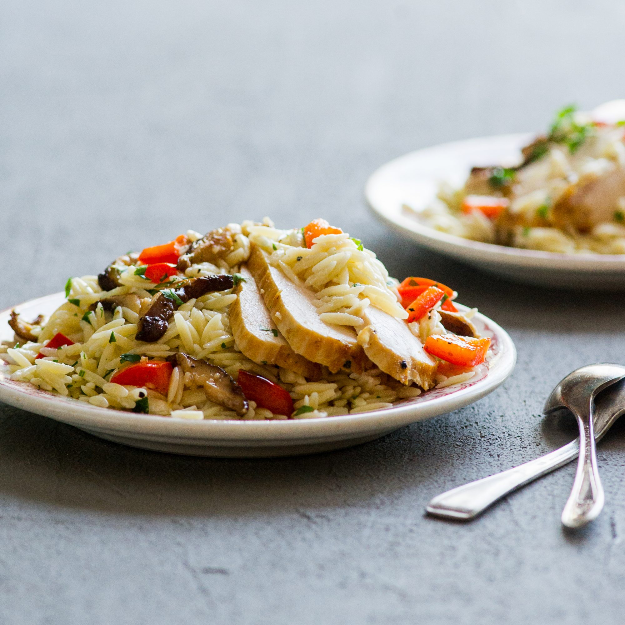 Orzo with Chicken, Red Pepper, and Shiitakes
