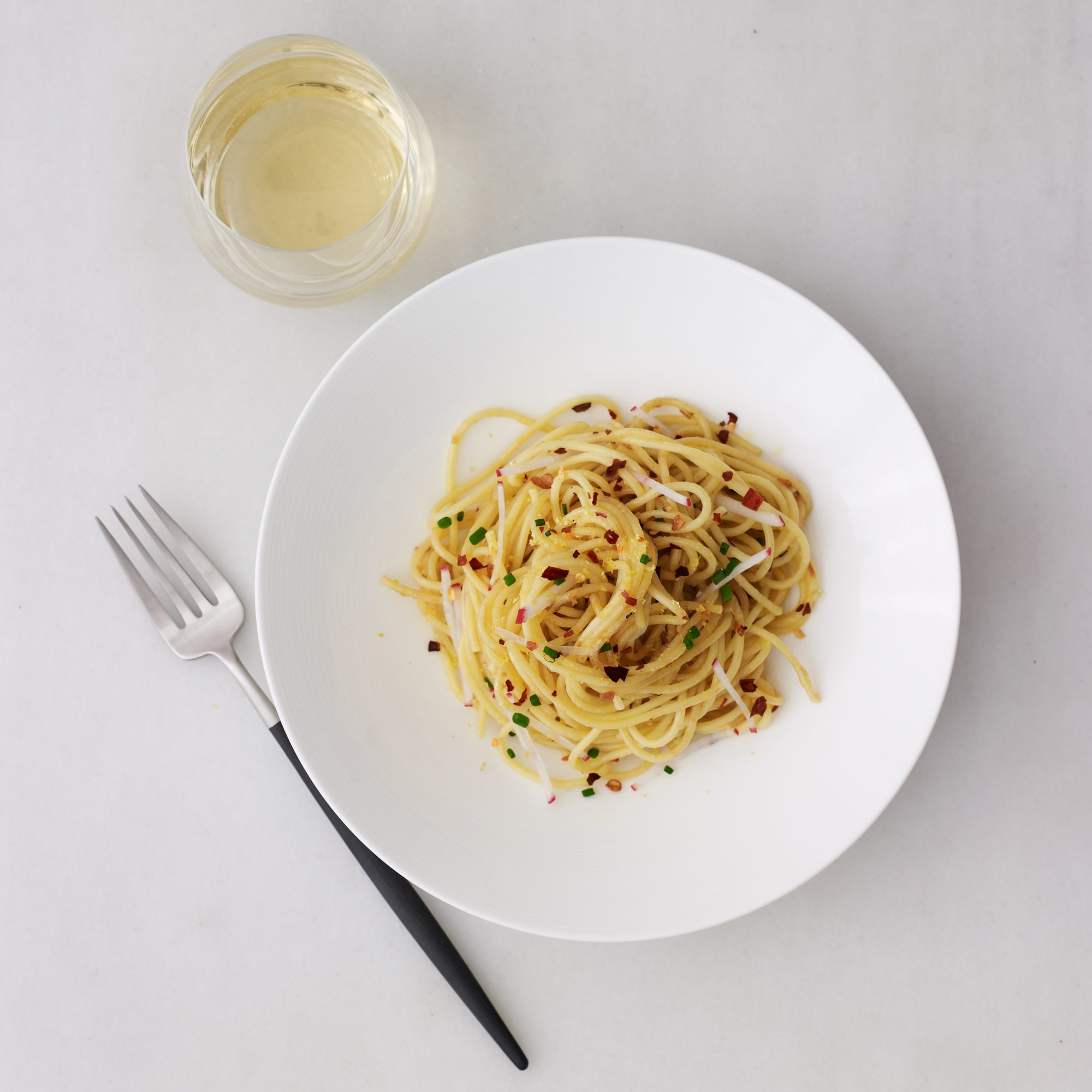 Spaghetti with Calabrian Chiles, Radishes and Lemon