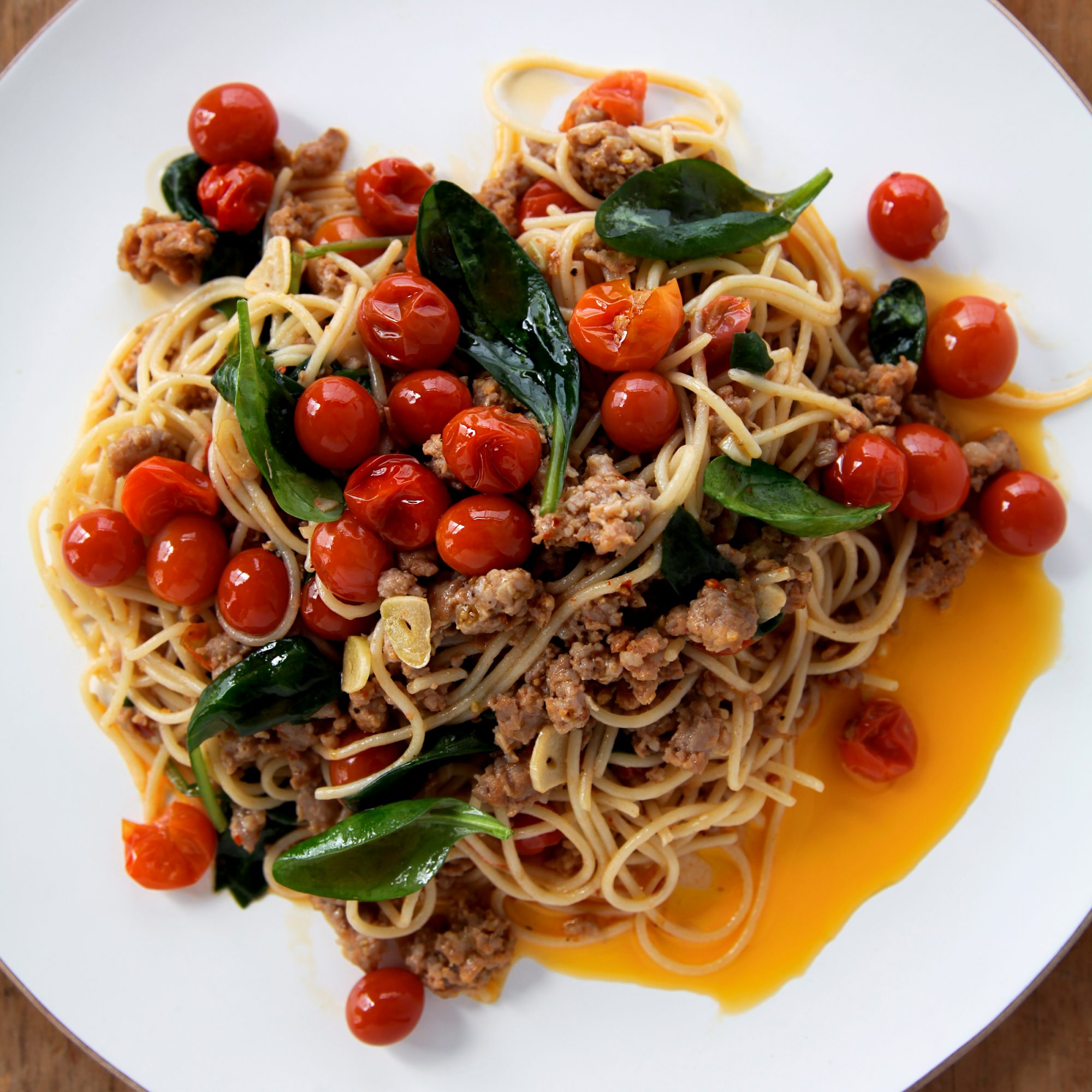 Spaghettini with Sausage, Tomatoes and Spinach
