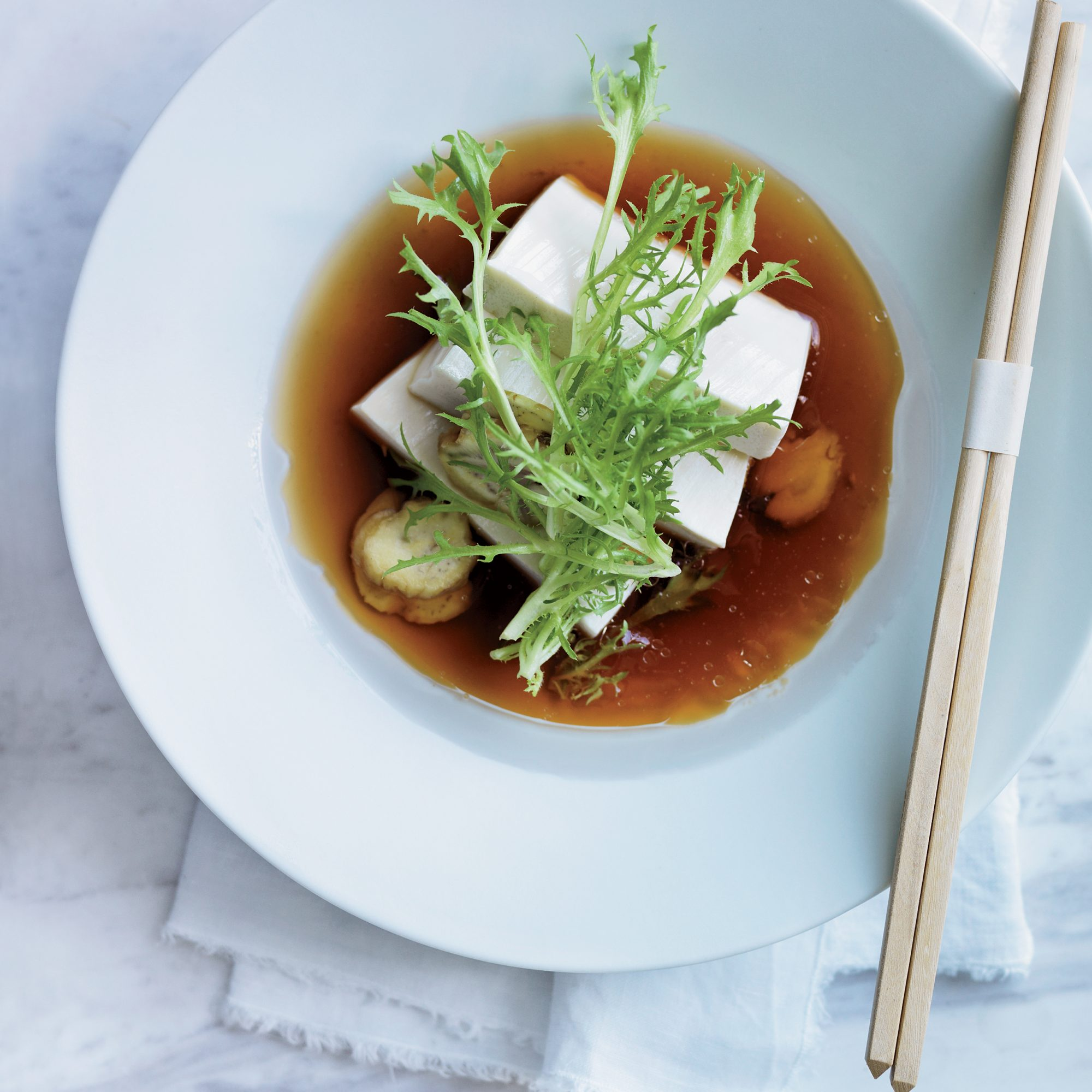 Tofu Salad with Chestnuts and Apple Dashi