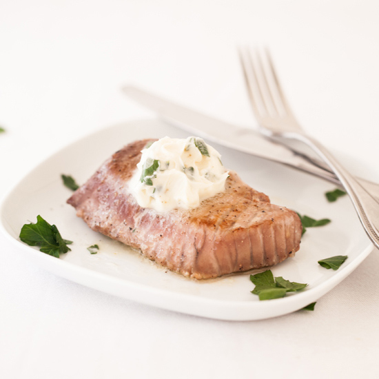 Grilled Tuna with Lemon Anchovy Butter