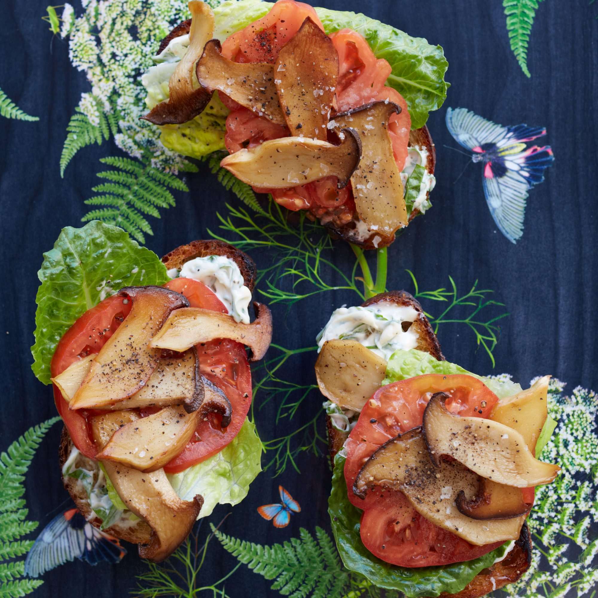 "King Oyster Mushroom ""BLT"" with Basil Mayonnaise"