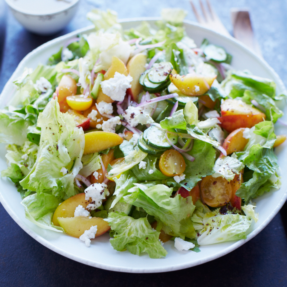 Lemony Escarole Salad with Peaches and Feta
