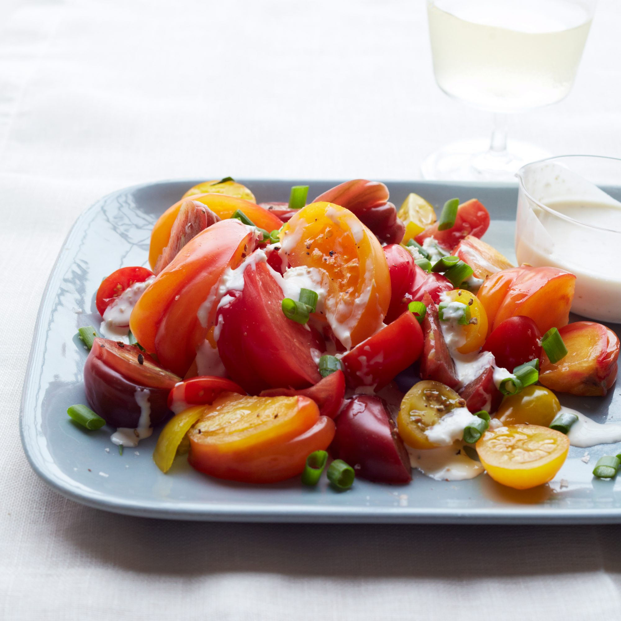 Tomato Salad with Horseradish Ranch Dressing