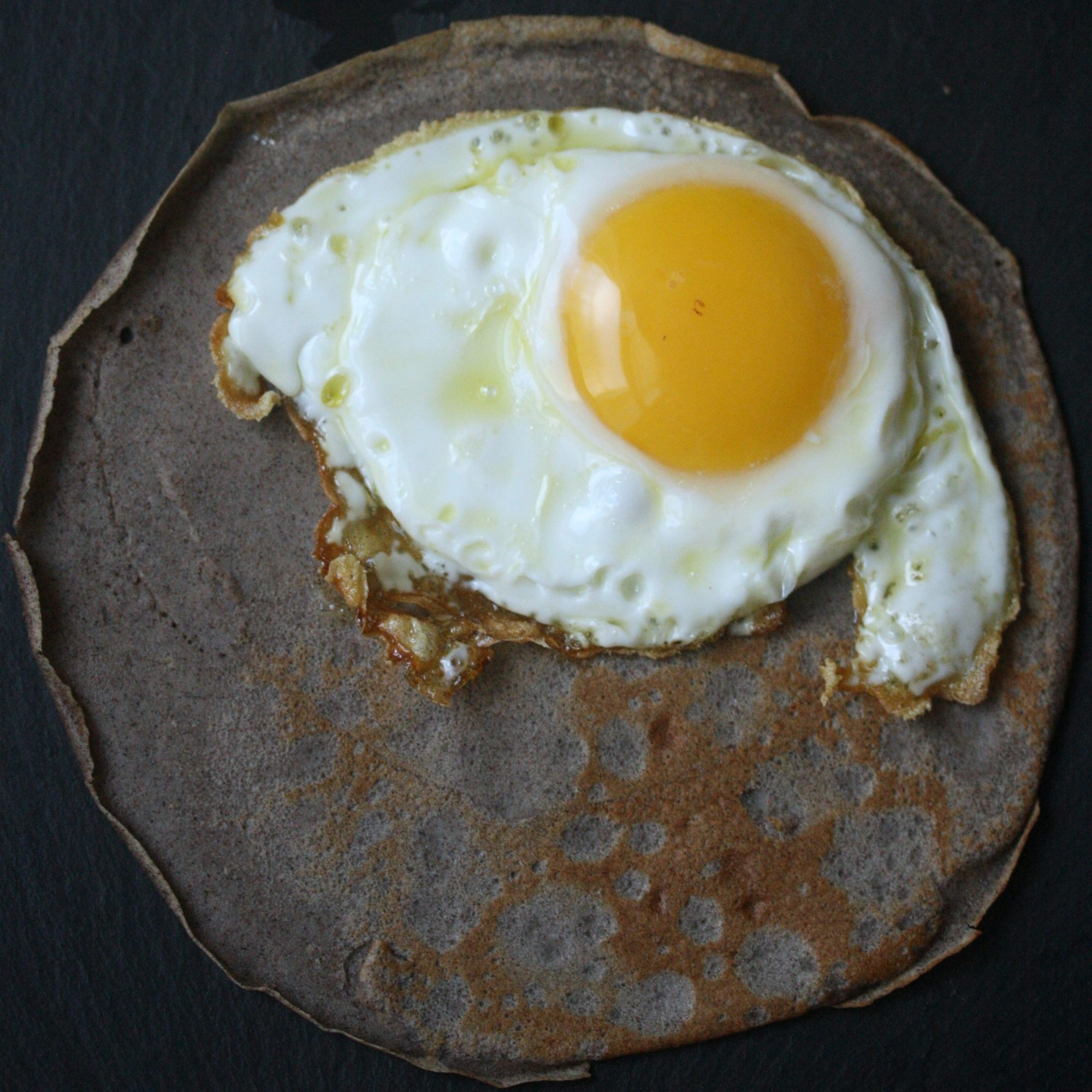 Buckwheat Crêpes with Olive Oil-Fried Eggs