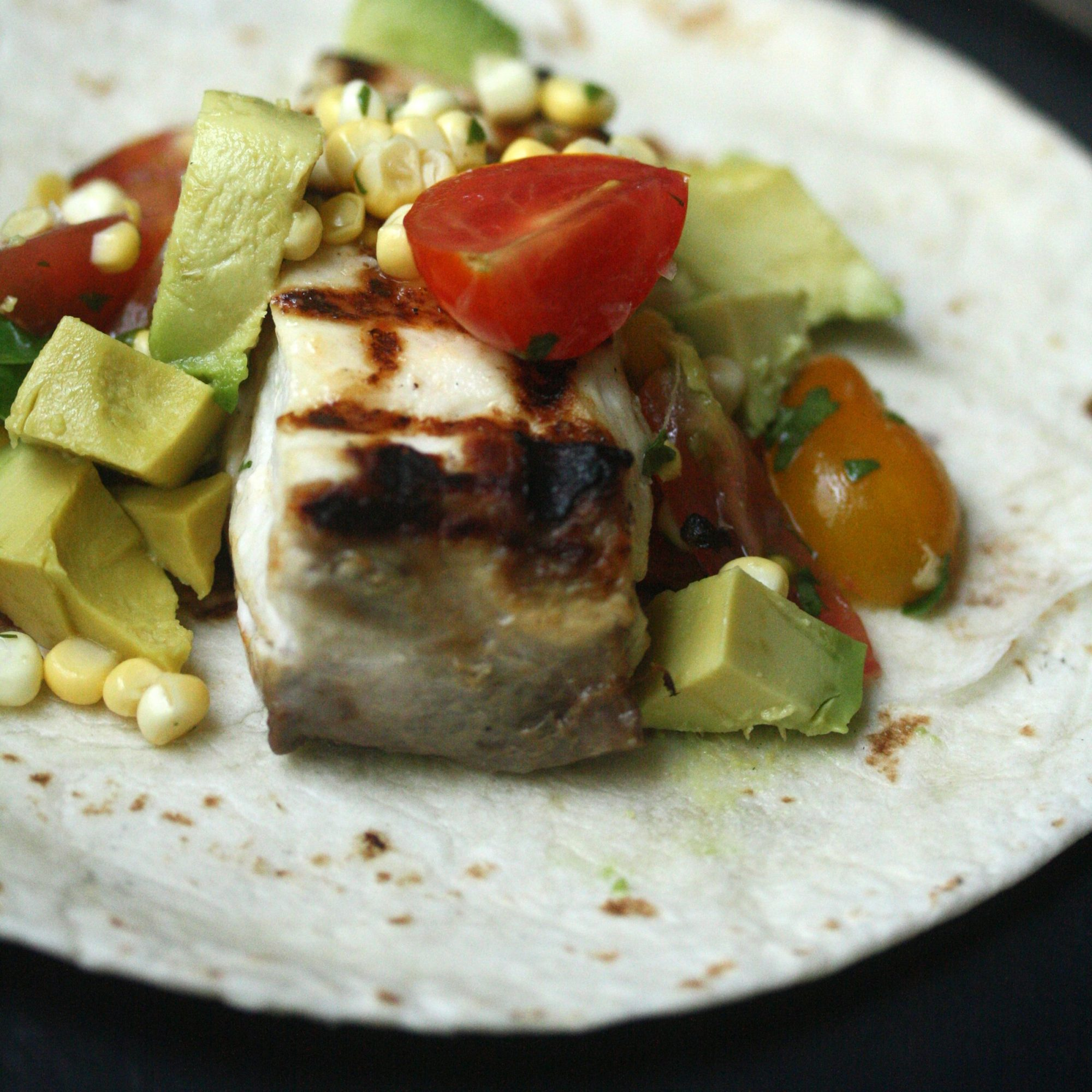 Grilled Fish Tacos with Corn Pico de Gallo and Avocado
