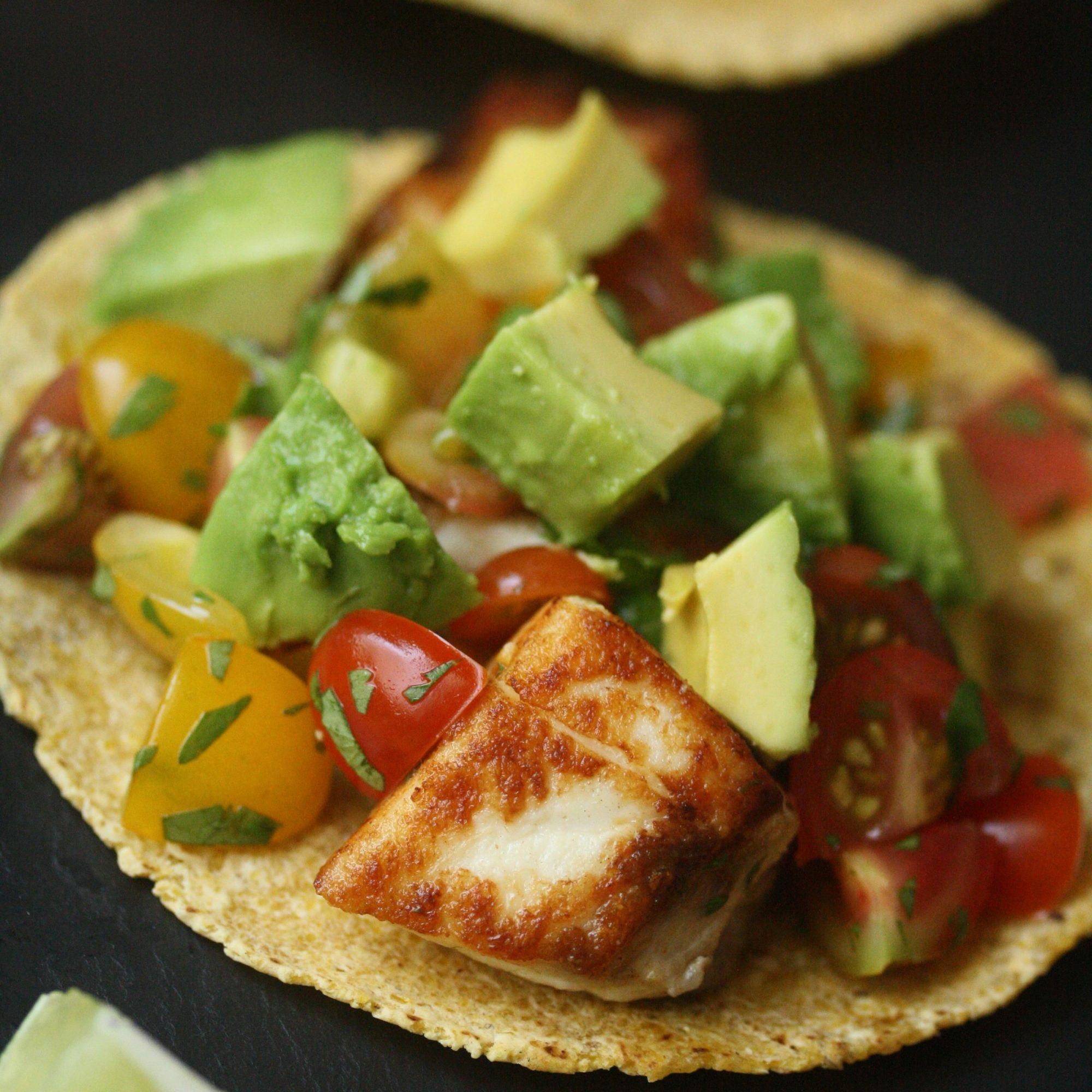 Striped Bass Fish Tacos with Heirloom Tomato Salsa and Avocado
