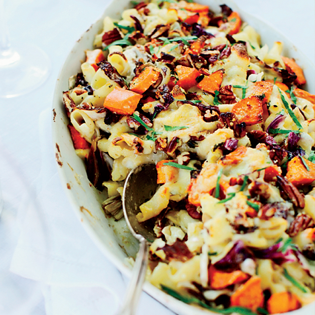 Cheesy Baked Pasta with Sweet Potatoes and Radicchio