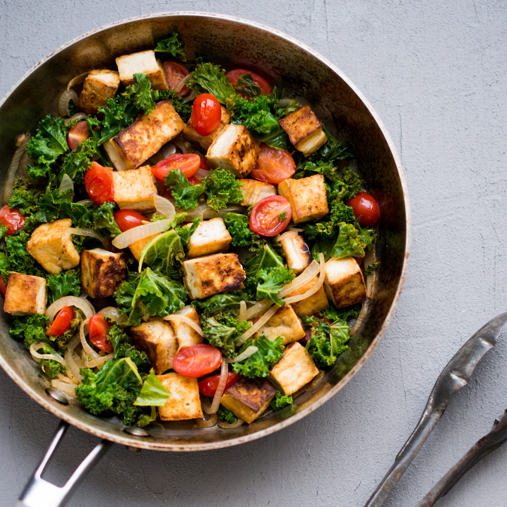 Tofu, Kale & Cherry Tomatoes in White Wine Sauce