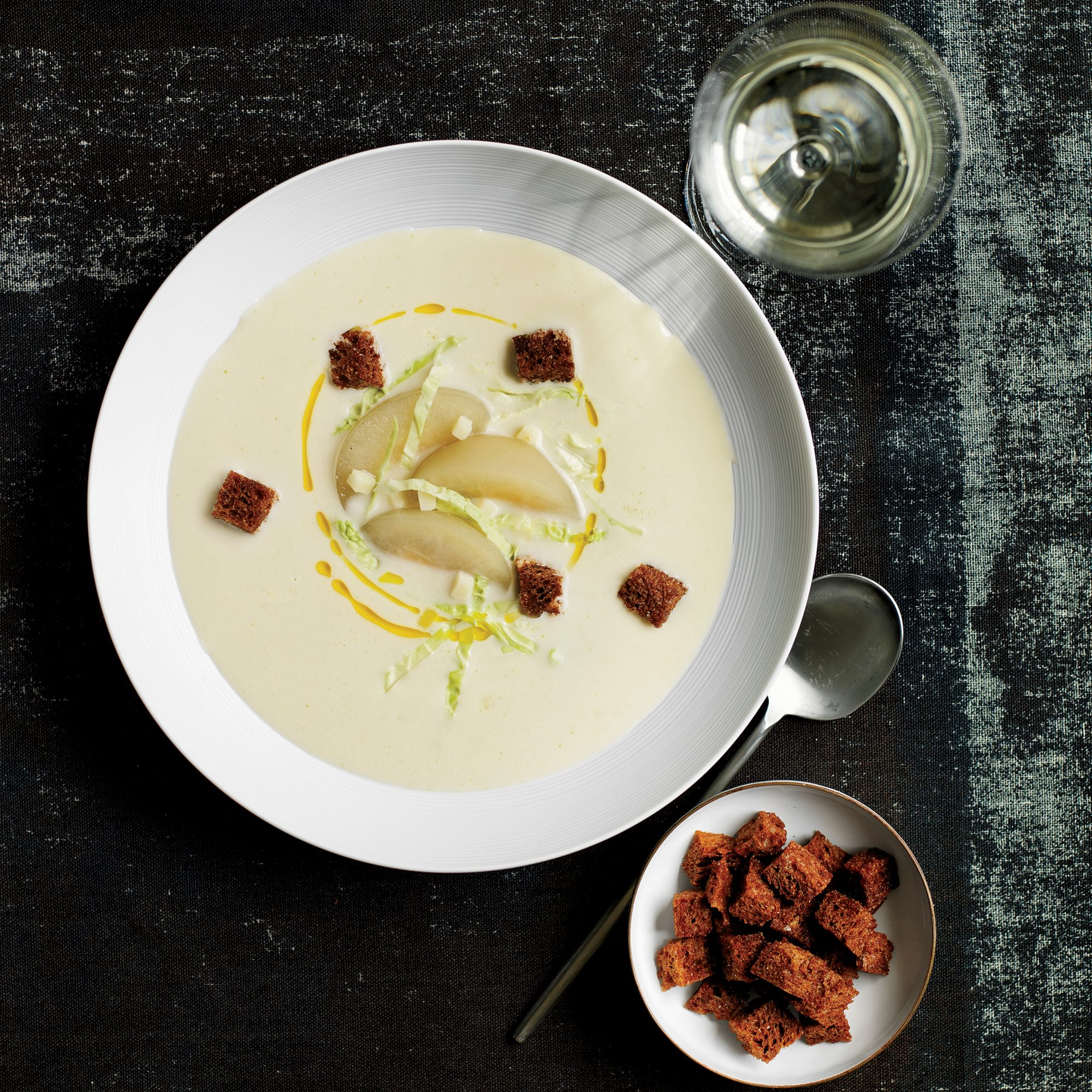 Cabbage Velouté with Poached Pears and Croutons