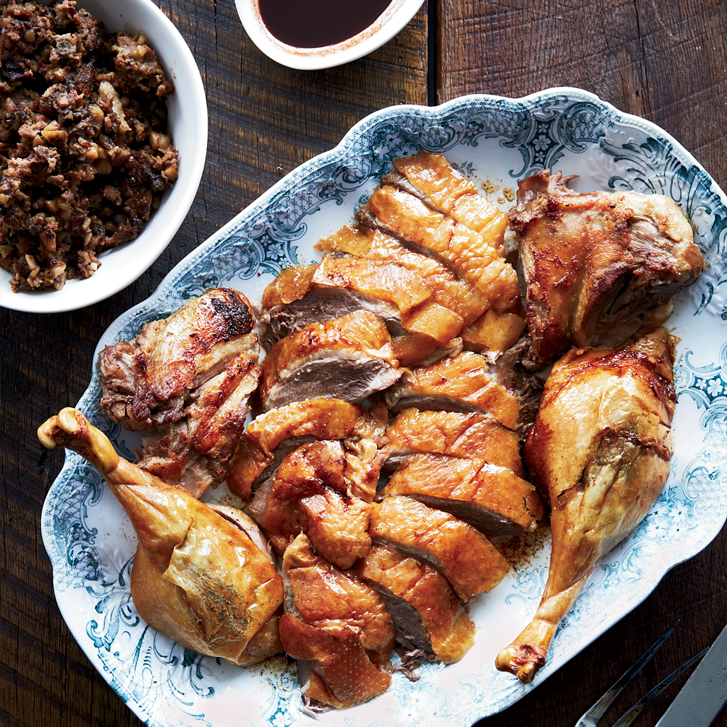 Roast Goose with Pork, Prune and Chestnut Stuffing